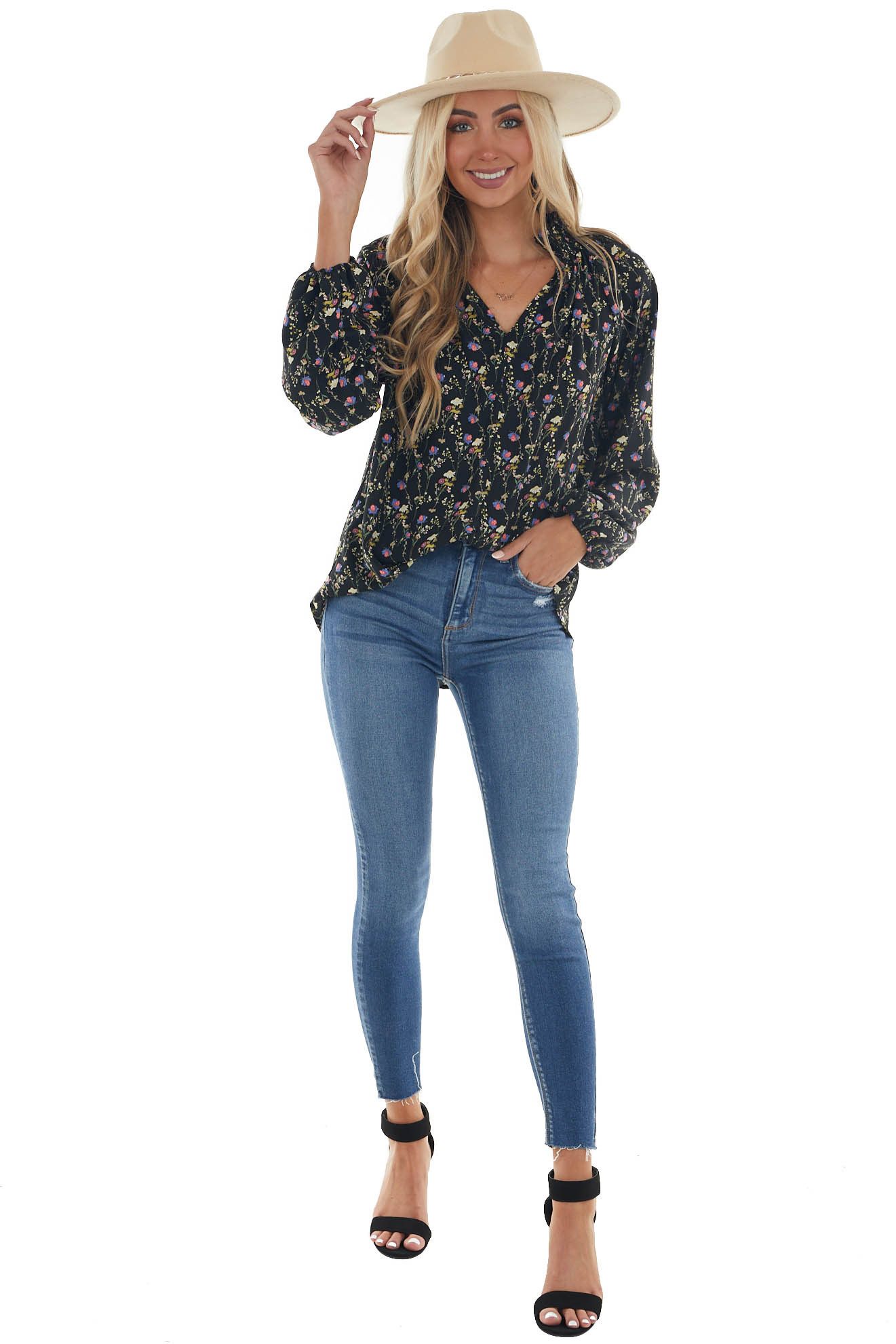 Black Floral Long Sleeve Top with Stand Collar