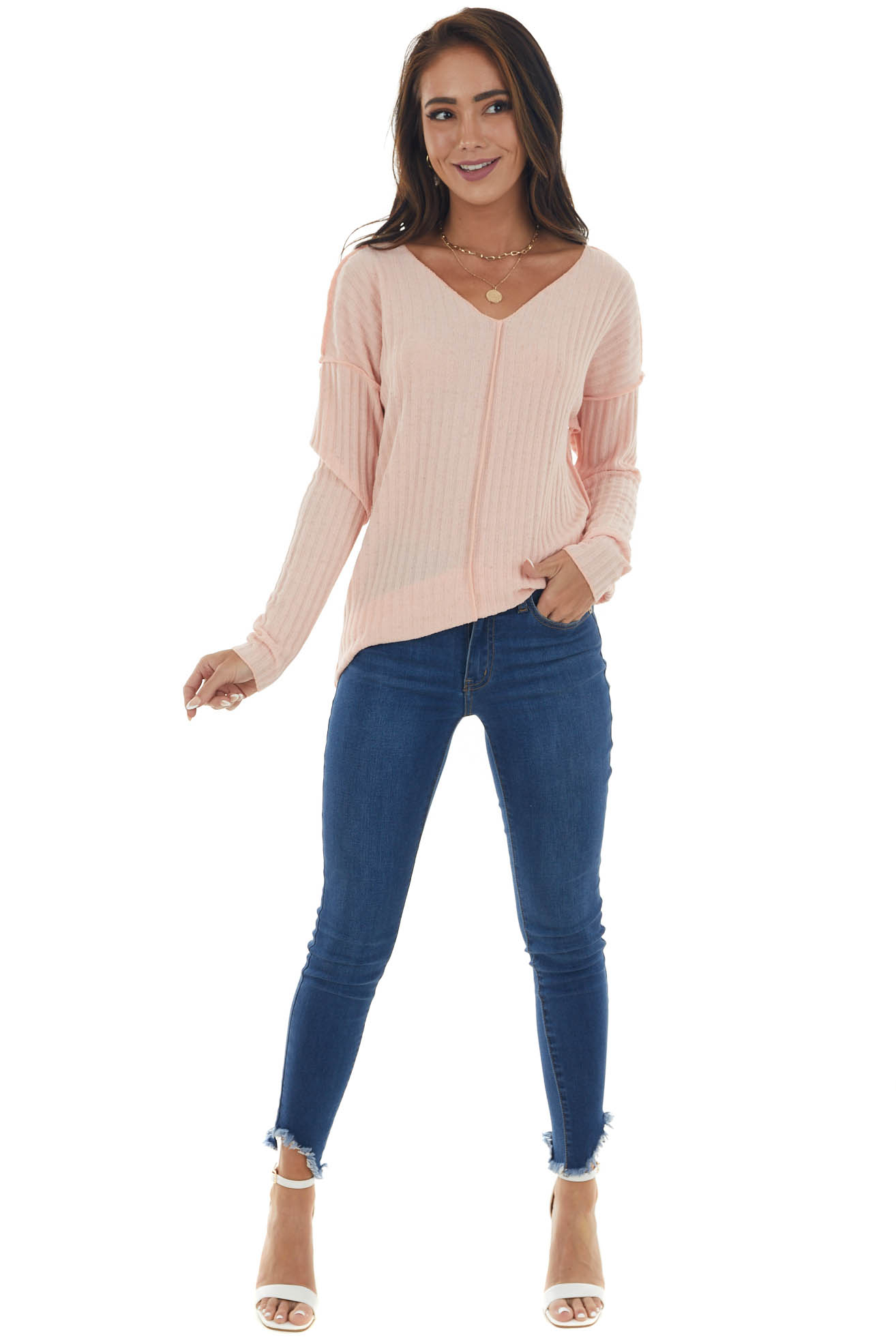 Peach Specked Ribbed Knit Exposed Seam Top