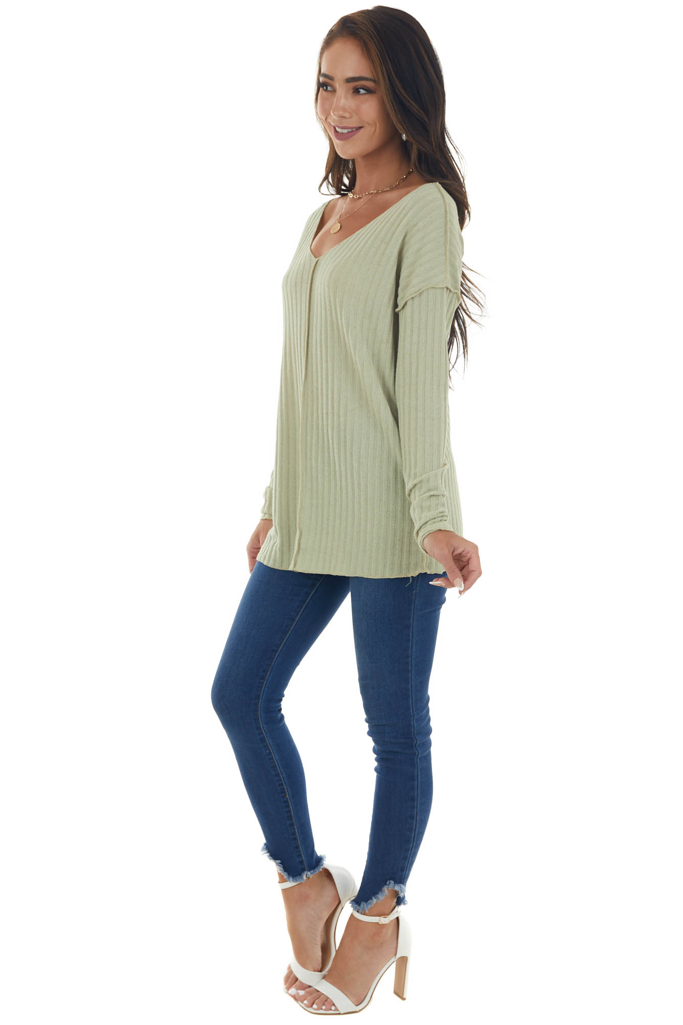 Pistachio Specked Ribbed Knit Exposed Seam Top