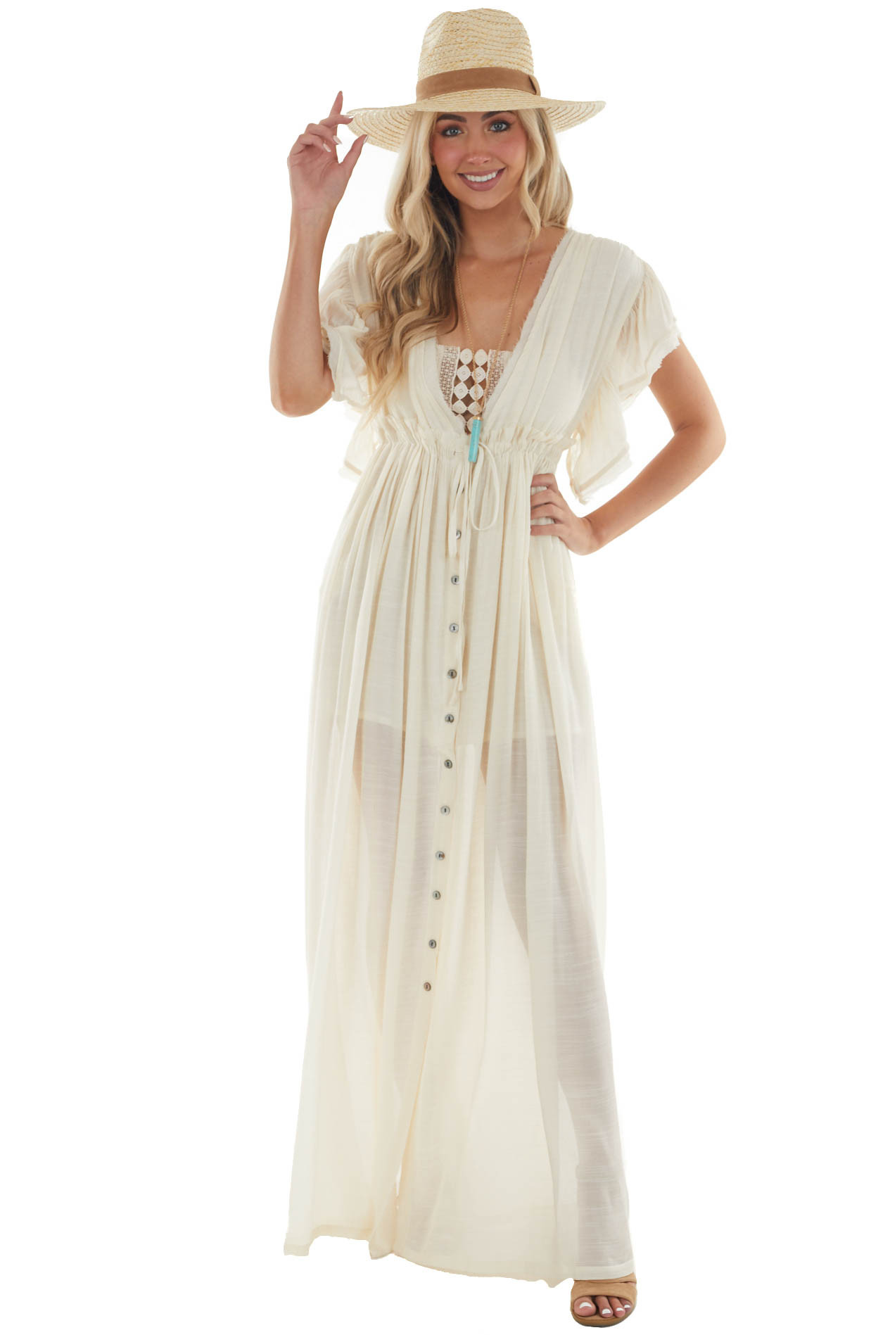 Cream Button Front Plunging V Neck Maxi Dress