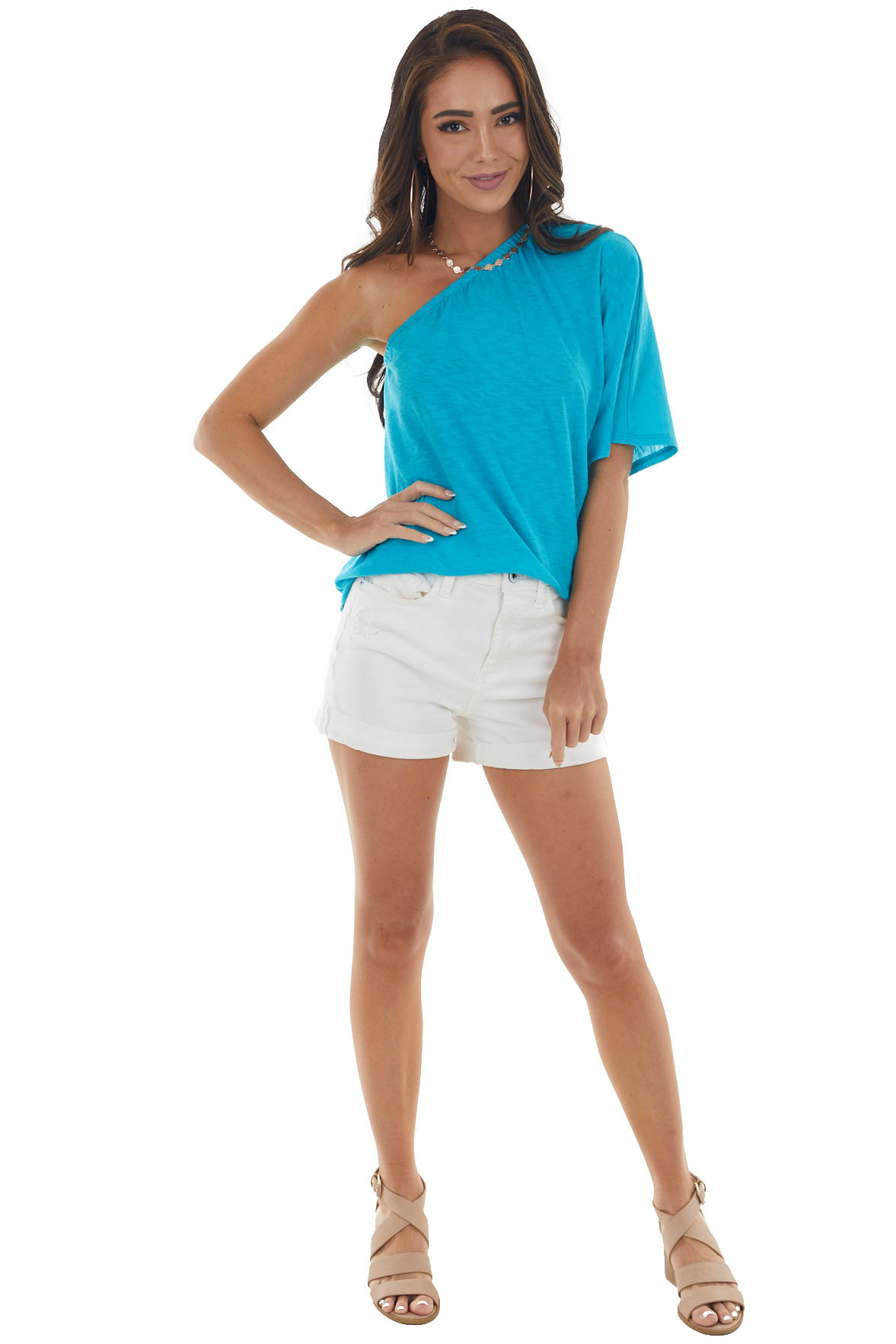 Turquoise Elastic One Shoulder Jersey Knit Top