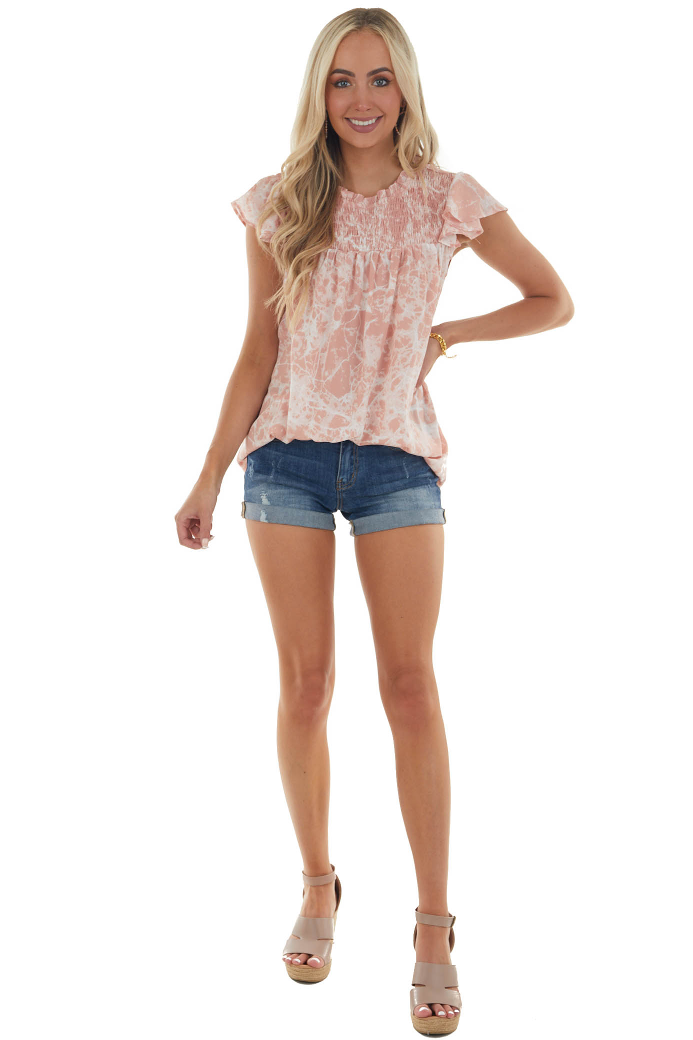 Dusty Blush Abstract Print Mock Neck Blouse