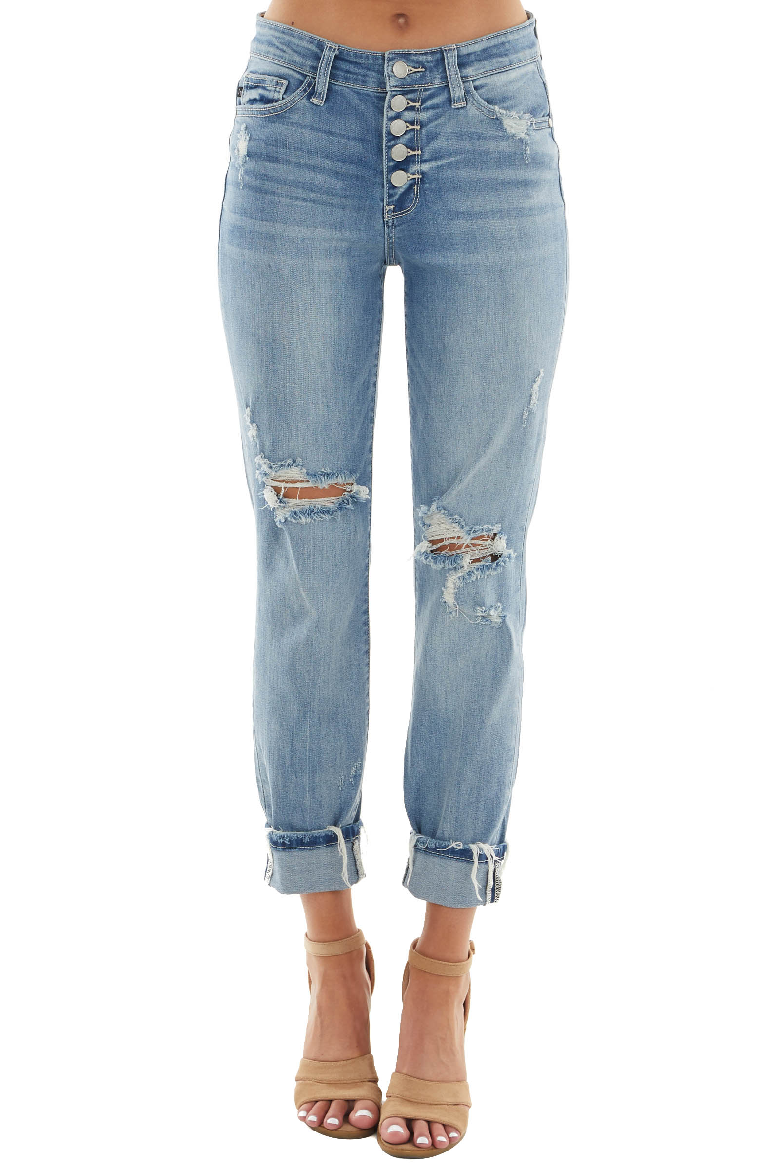 Mid Wash High Rise Button Fly Boyfriend Jeans