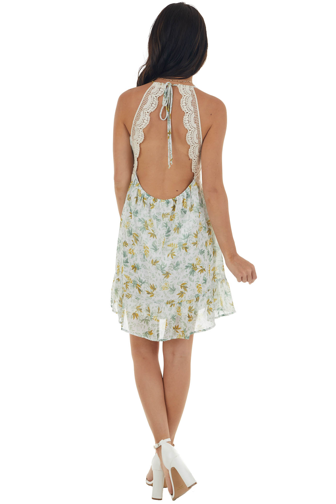Off White and Sage Floral Print Short Dress