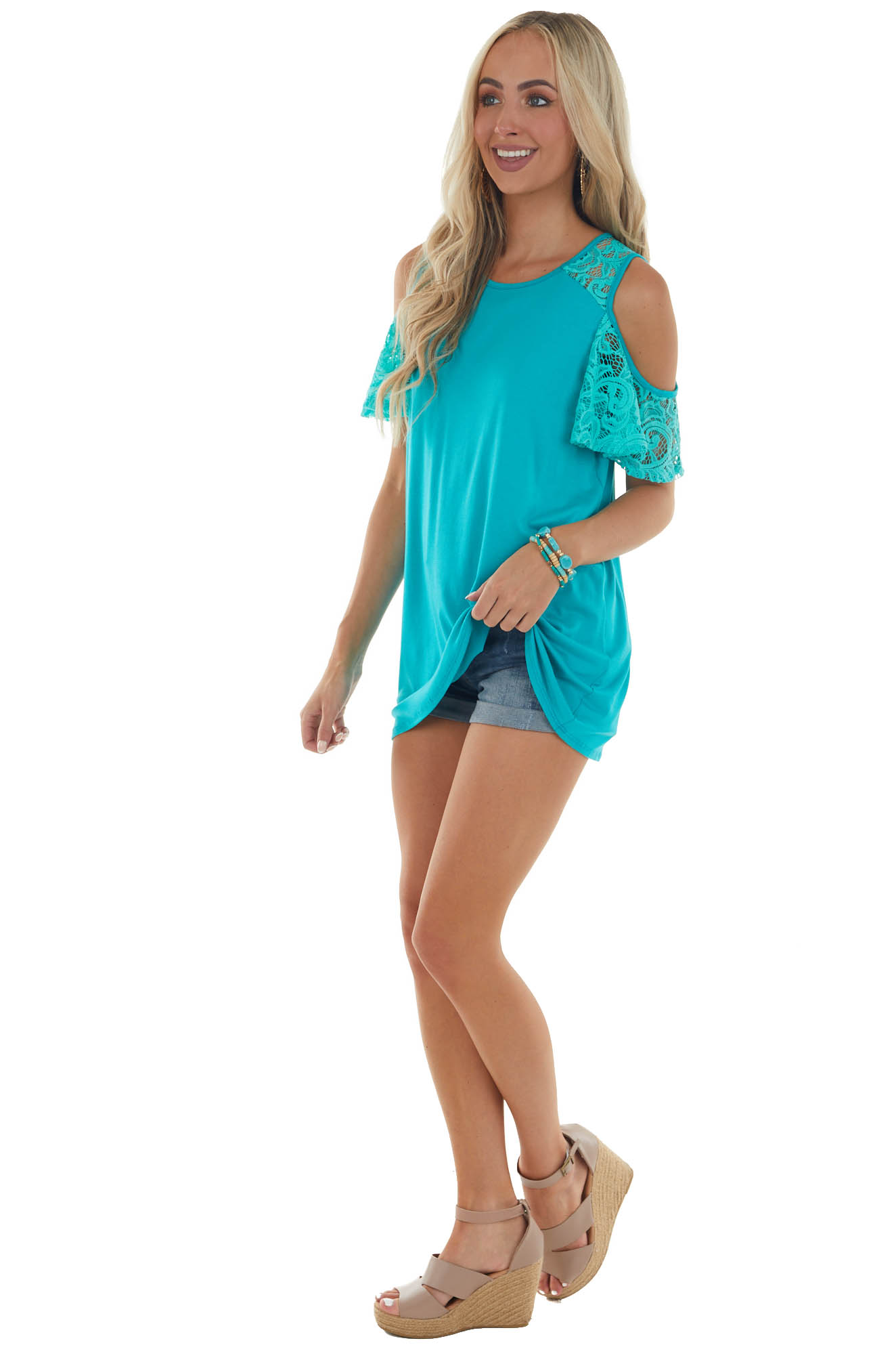 Teal Cold Shoulder Short Sleeve Knit Top with Lace Detail