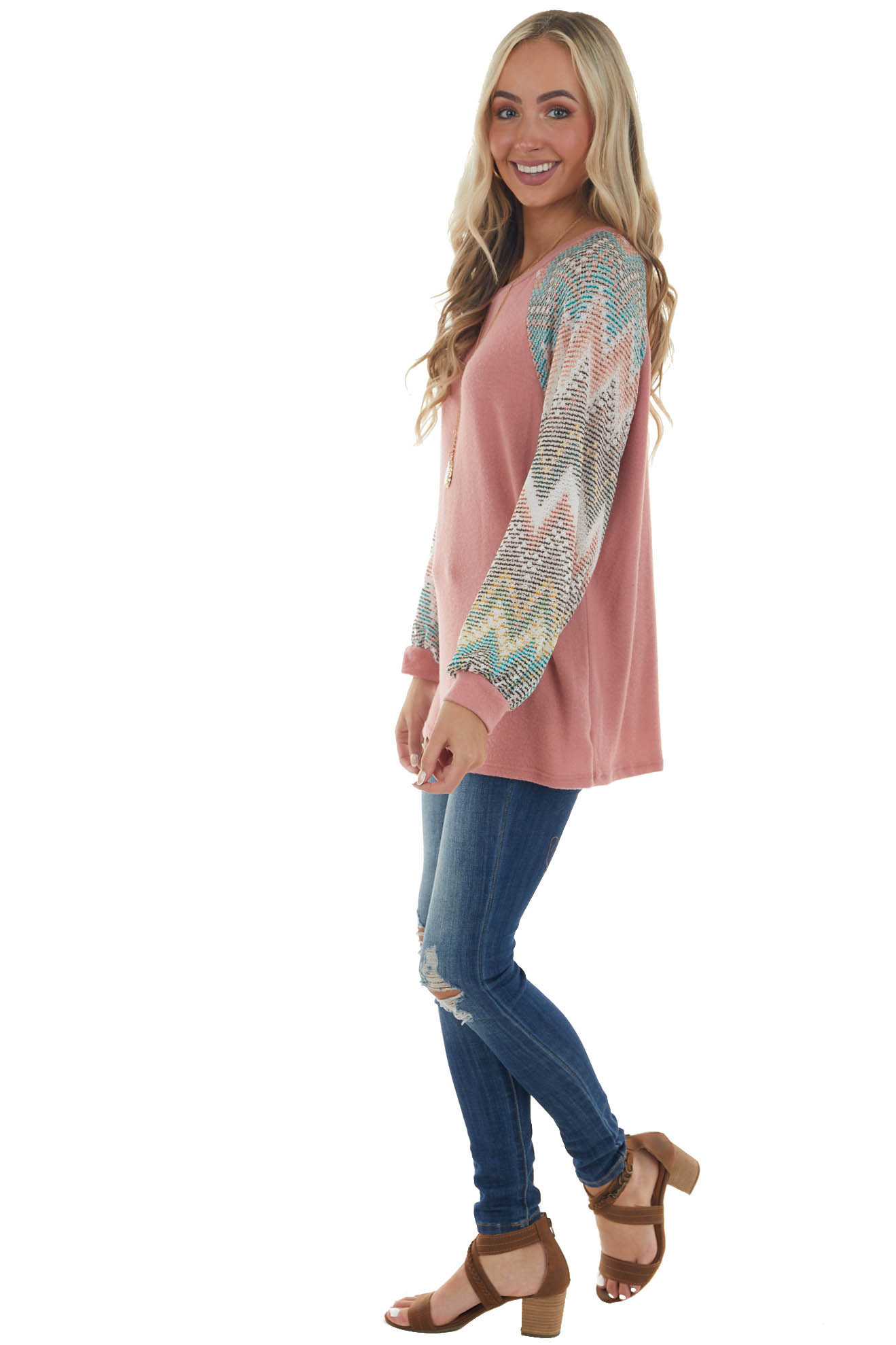 Punch Pink Long Chevron Bubble Sleeve Knit Top