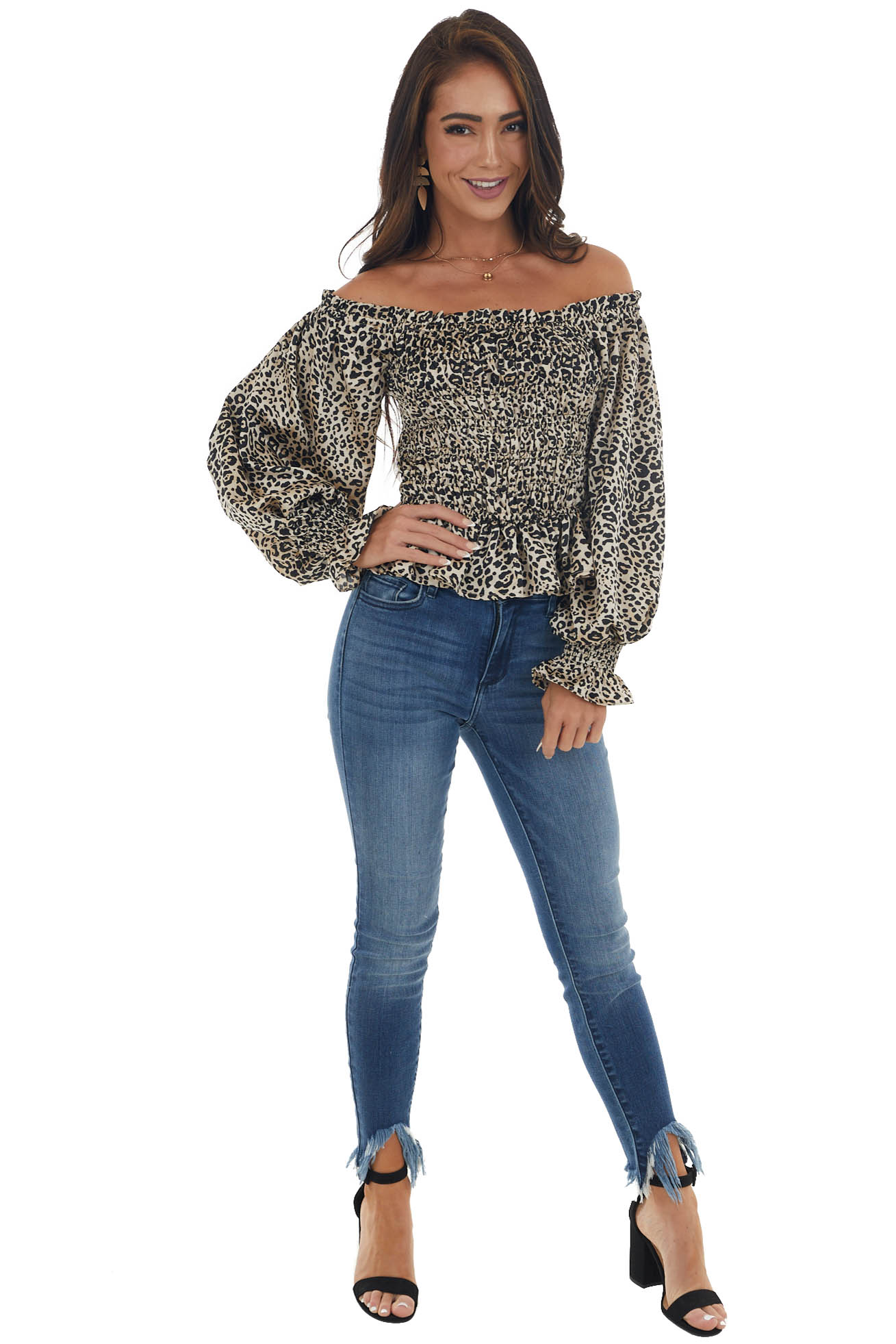 Champagne Leopard Print Long Sleeve Woven Top