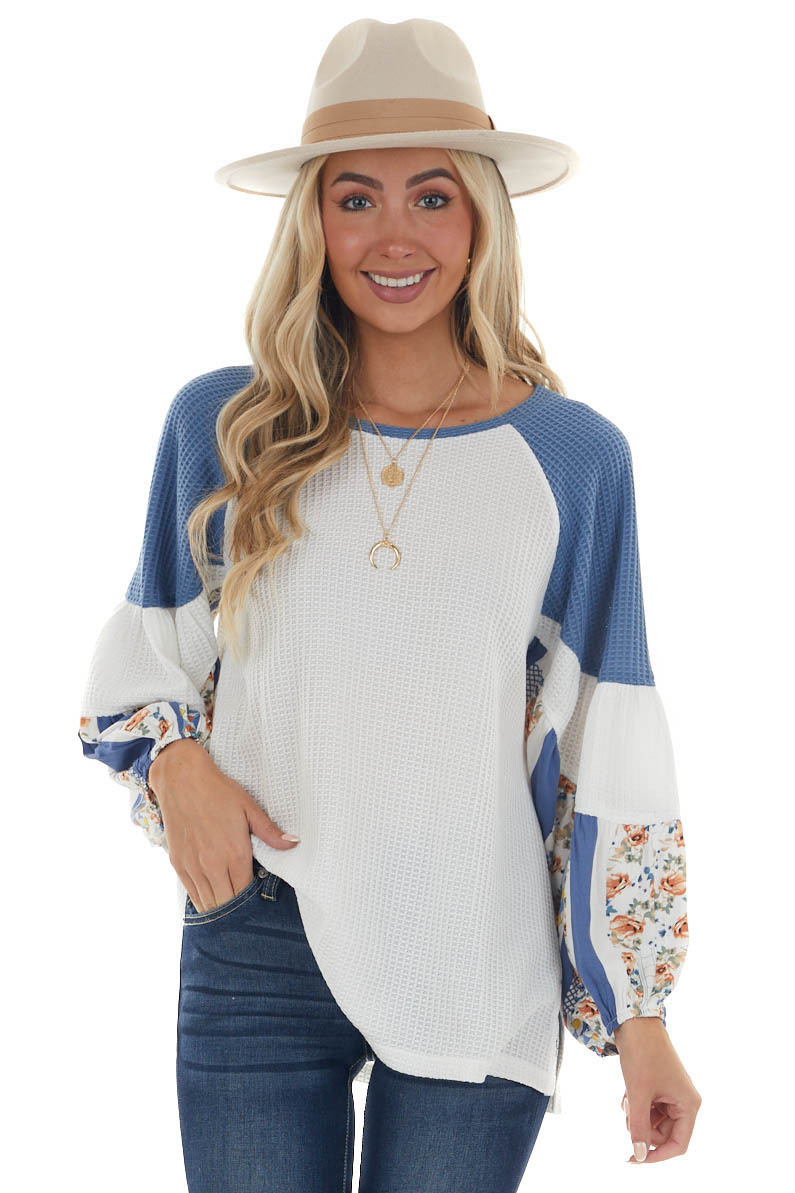 Ivory Printed Long Puff Sleeve Waffle Knit Top