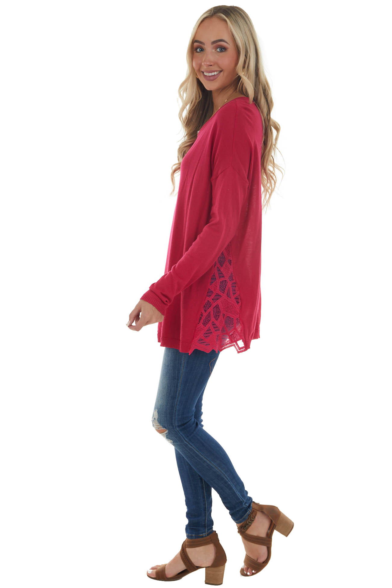 Raspberry Long Sleeve Top with Side Lace Panels