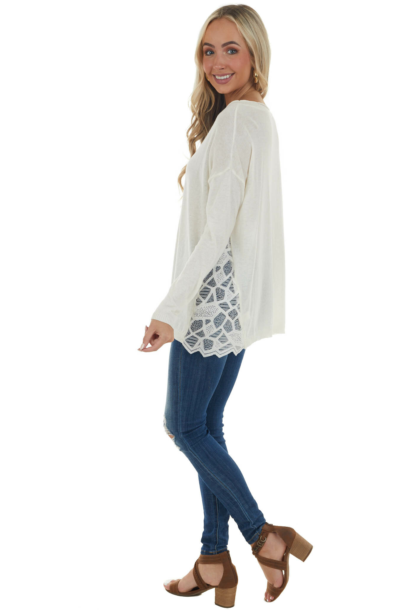 Ivory Long Sleeve Top with Side Lace Panels