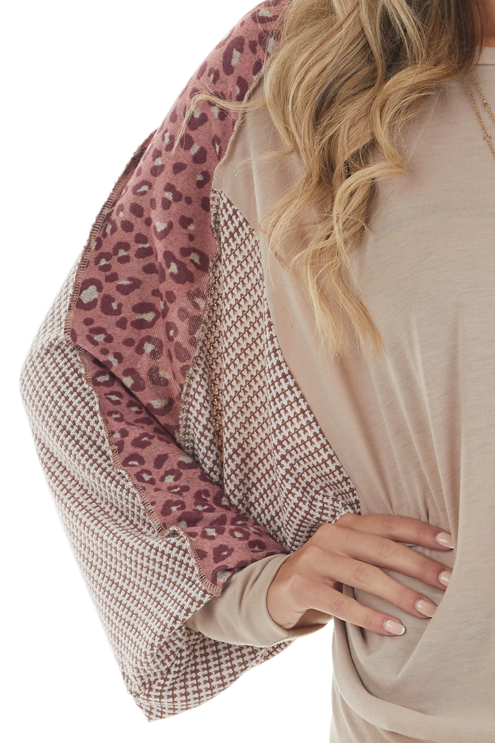 Latte Top with Leopard Print Bat Wing Sleeves