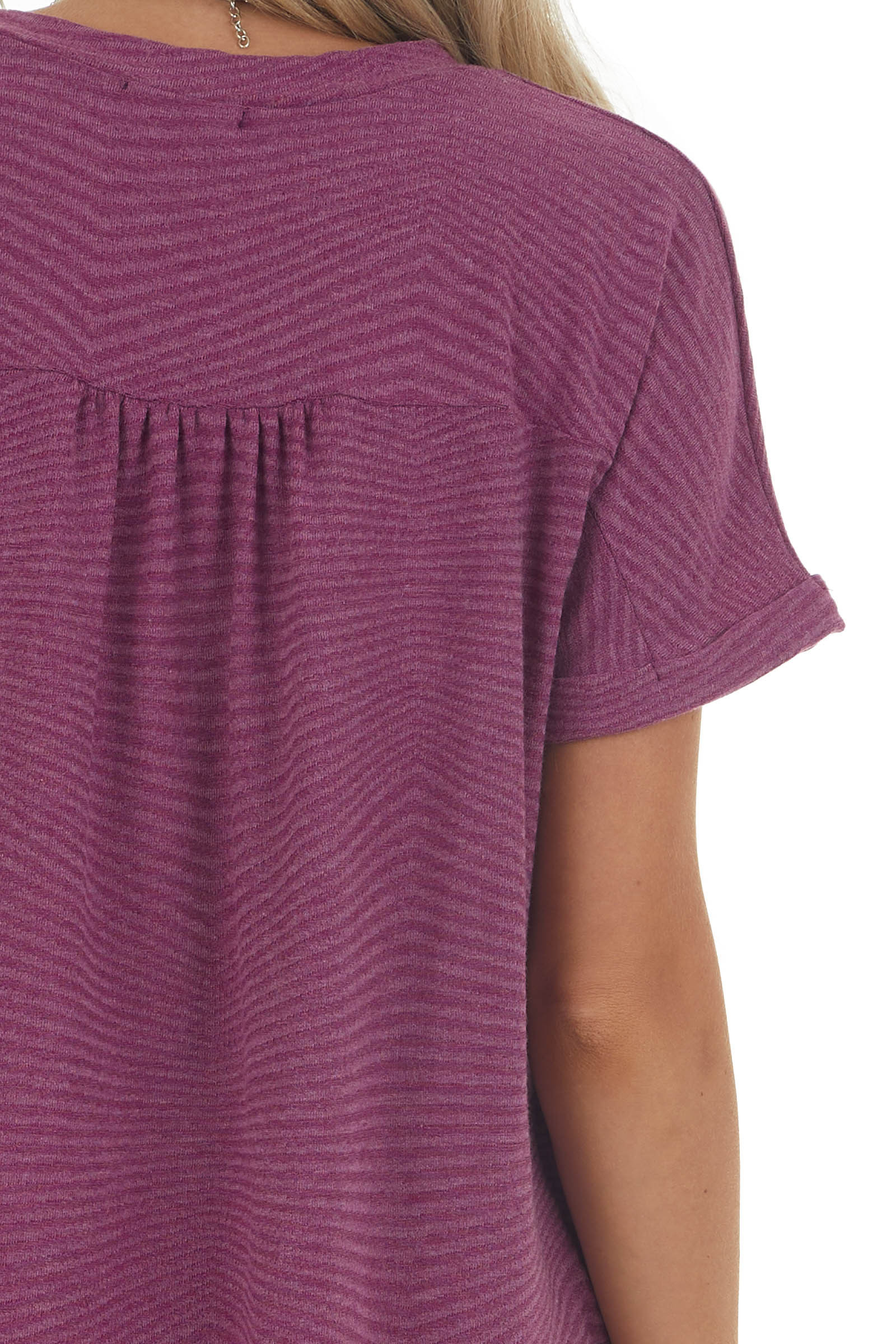 Plum Two Tone Striped Rolled Cuff Knit Top