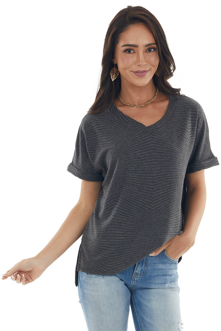 Charcoal Two Tone Striped Rolled Cuff Knit Top