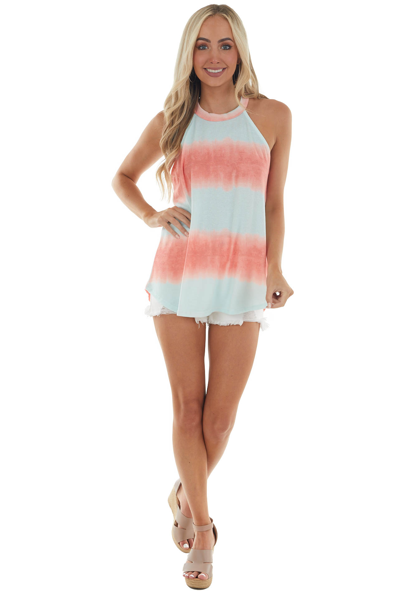 Mint and Coral Tie Dye Halter Knit Tank Top