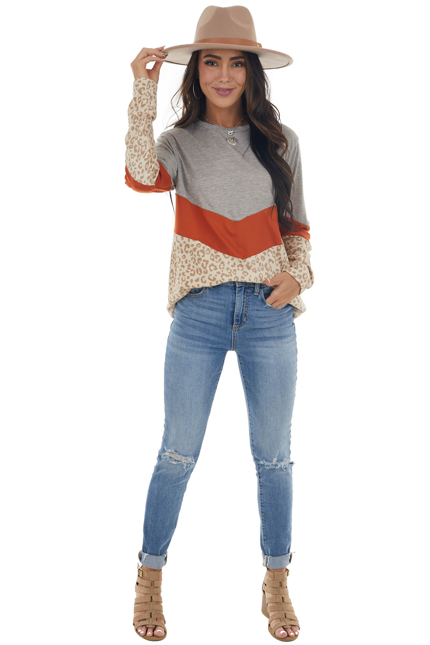 Tawny and Leopard Colorblock Long Sleeve Top