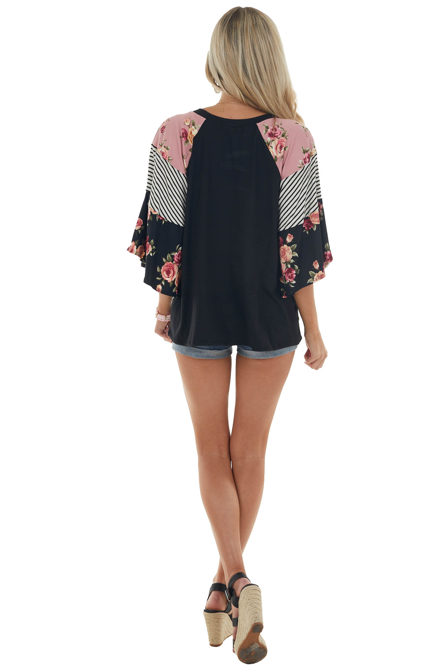 Black Knit Top with Multiprint Bell Sleeves
