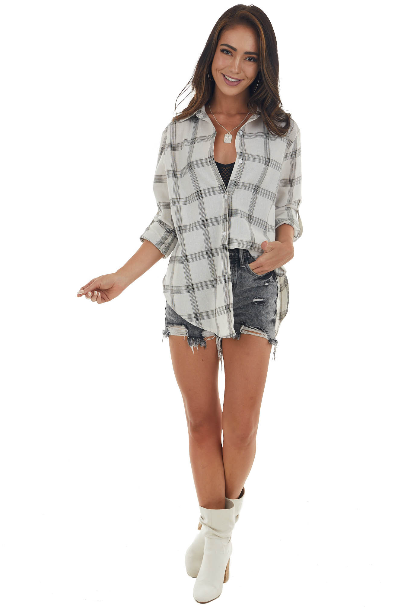 Vanilla Plaid Button Up Rounded Hem Flannel