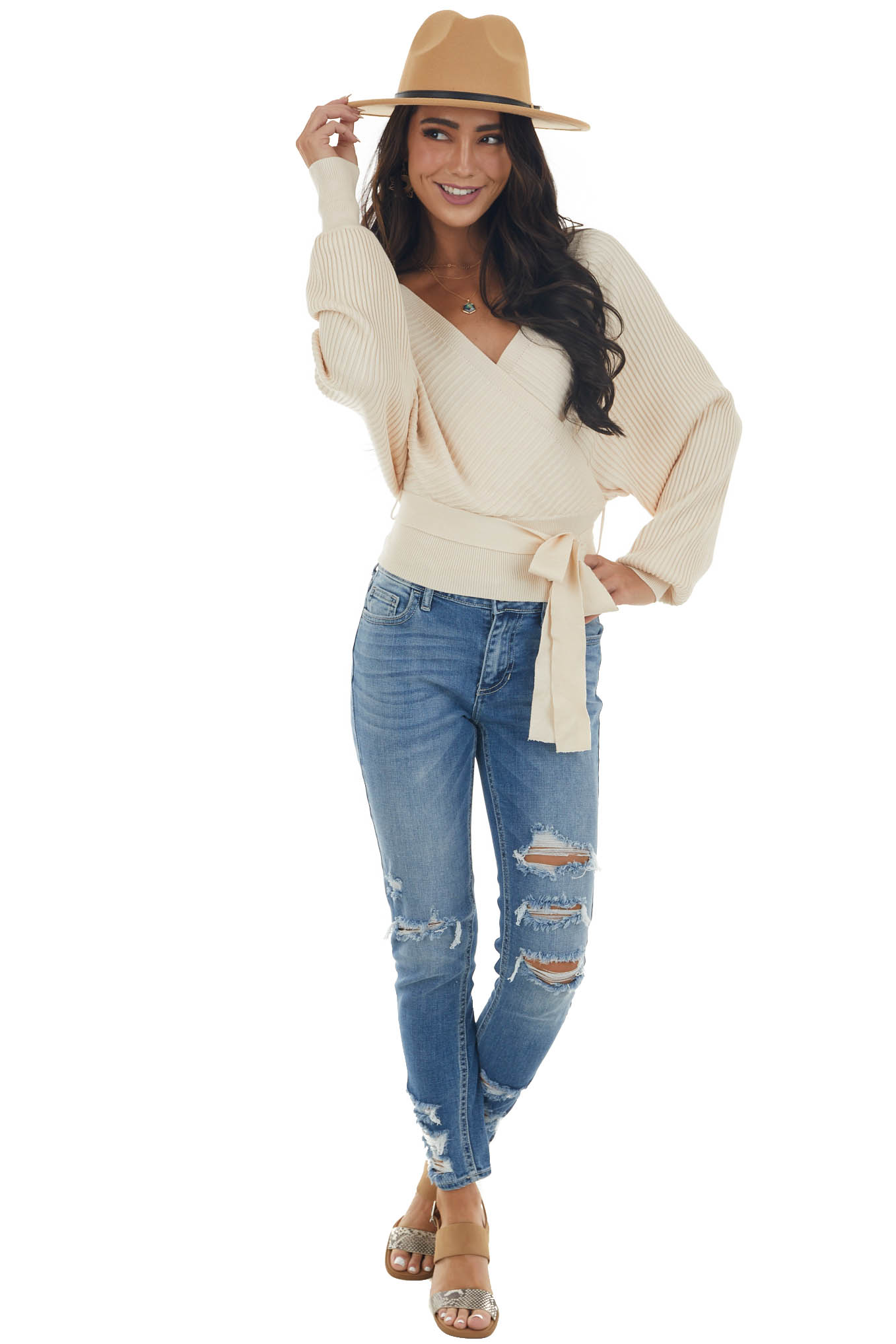 Nude Surplice Ribbed Cropped Sweater with Tie