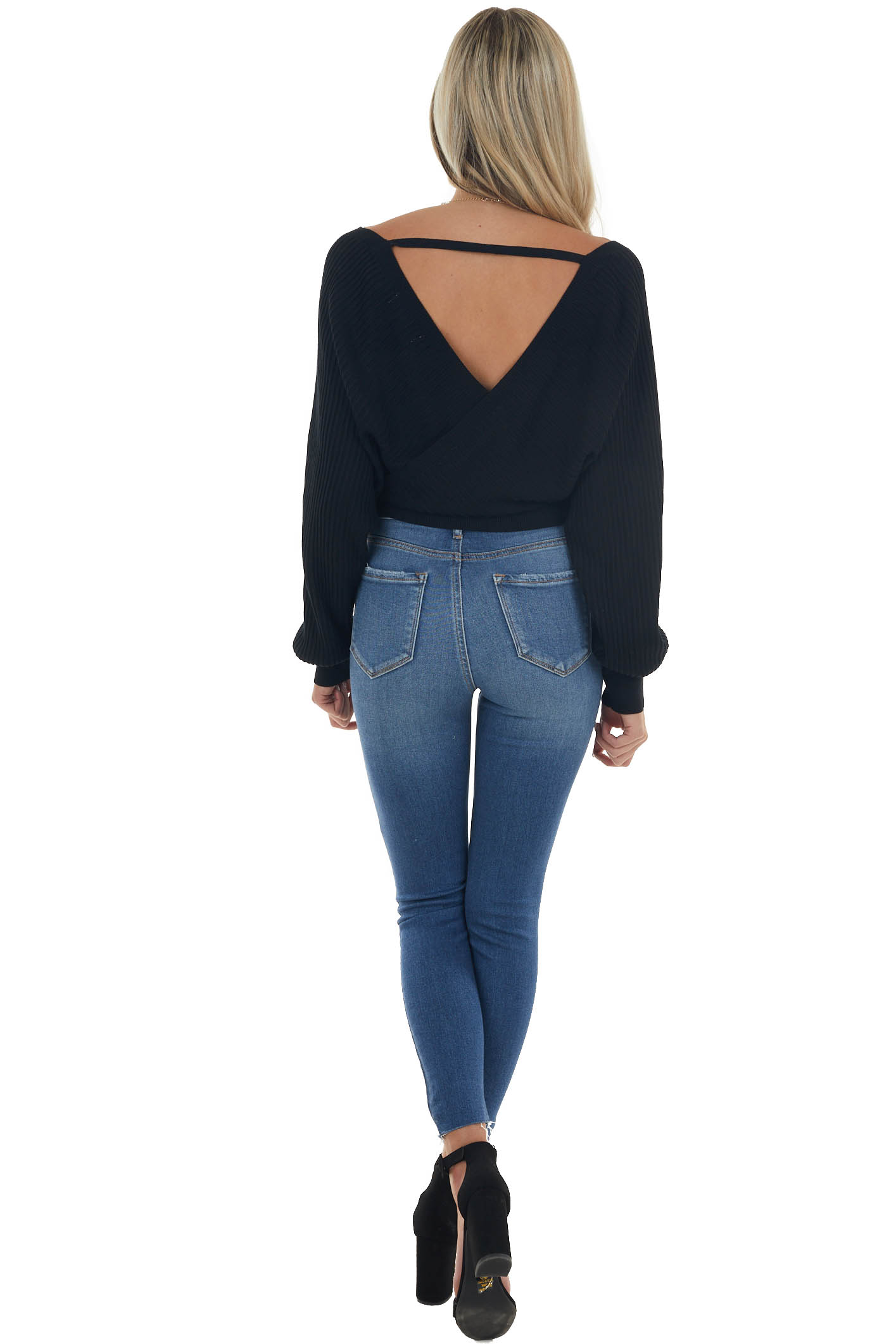 Black Surplice Ribbed Cropped Sweater with Tie