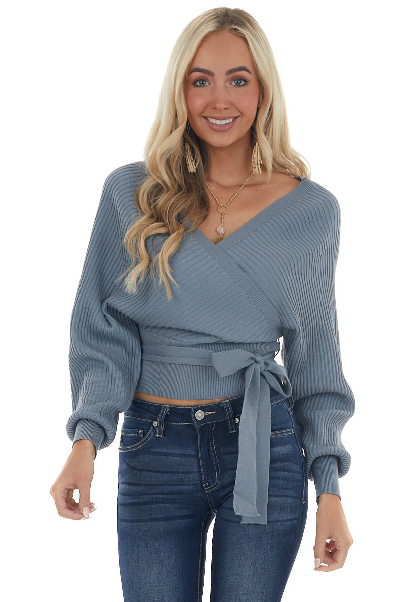 Slate Surplice Ribbed Cropped Sweater with Tie