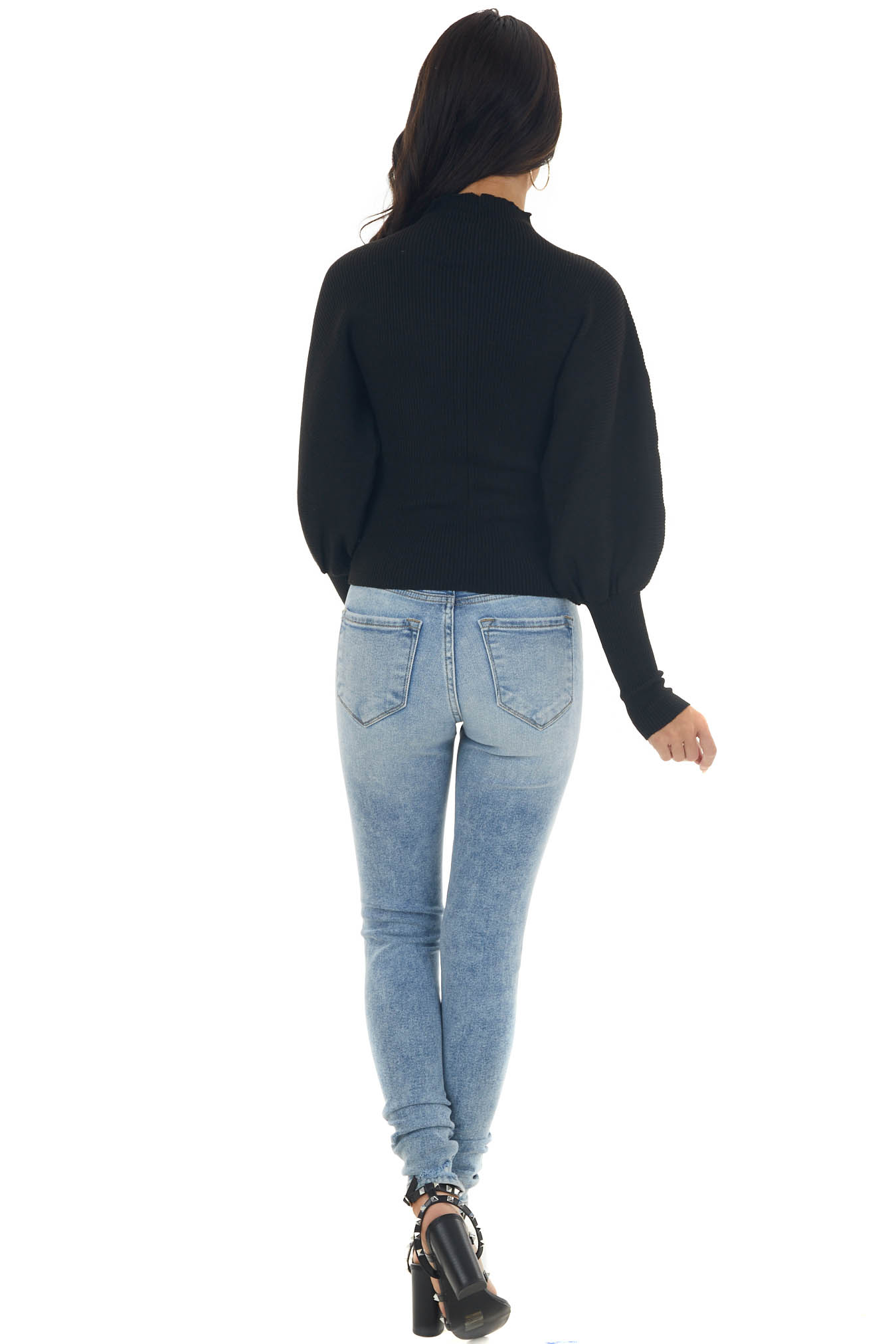 Black Ribbed Knit Sweater with Puff Sleeves