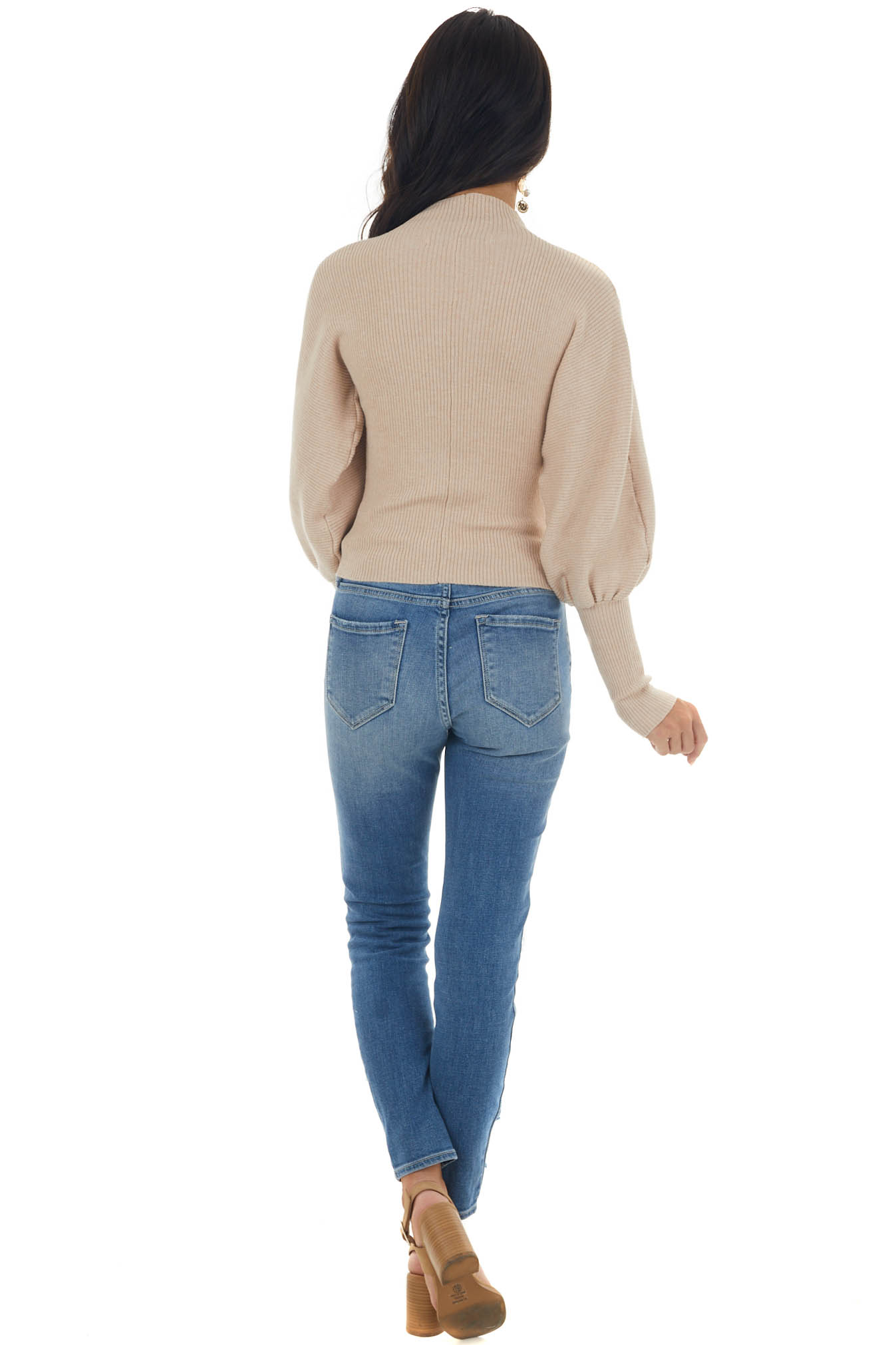 Desert Sand Ribbed Sweater with Puff Sleeves