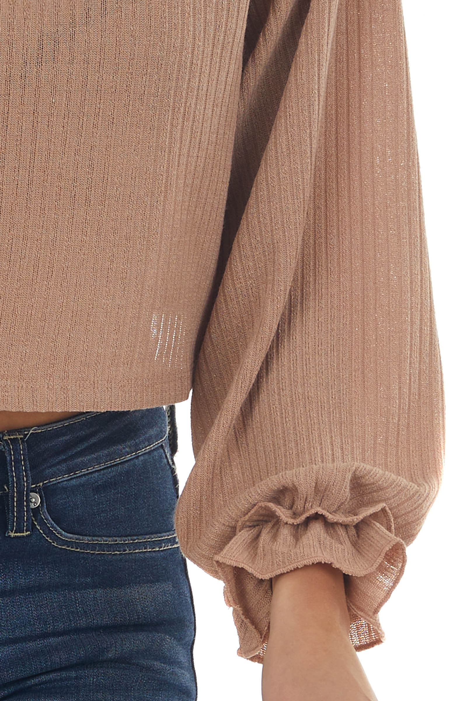 Nude Ribbed Knit Crop Top with Cinched Cuffs