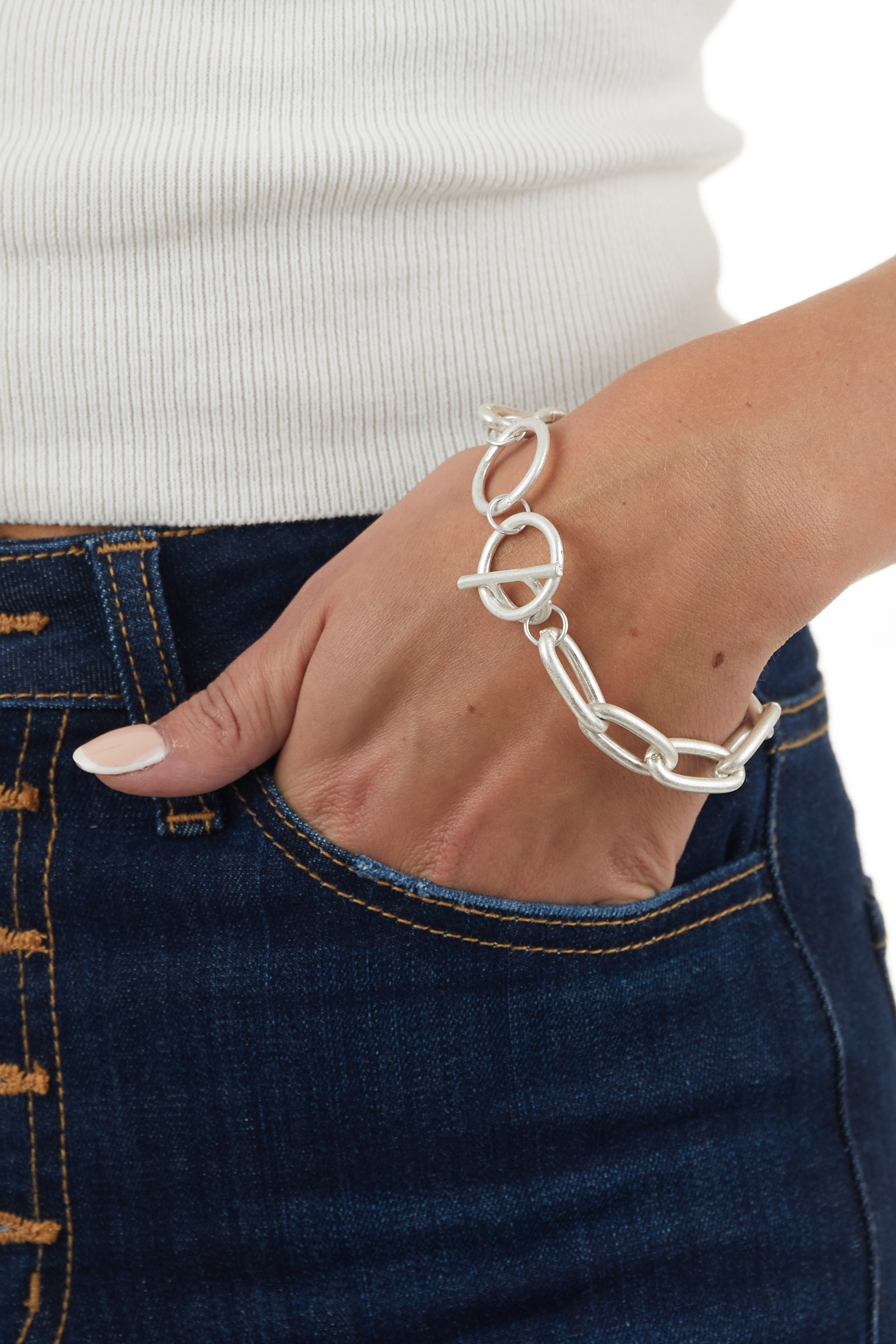 Antique Silver Toggle Chunky Chain Bracelet