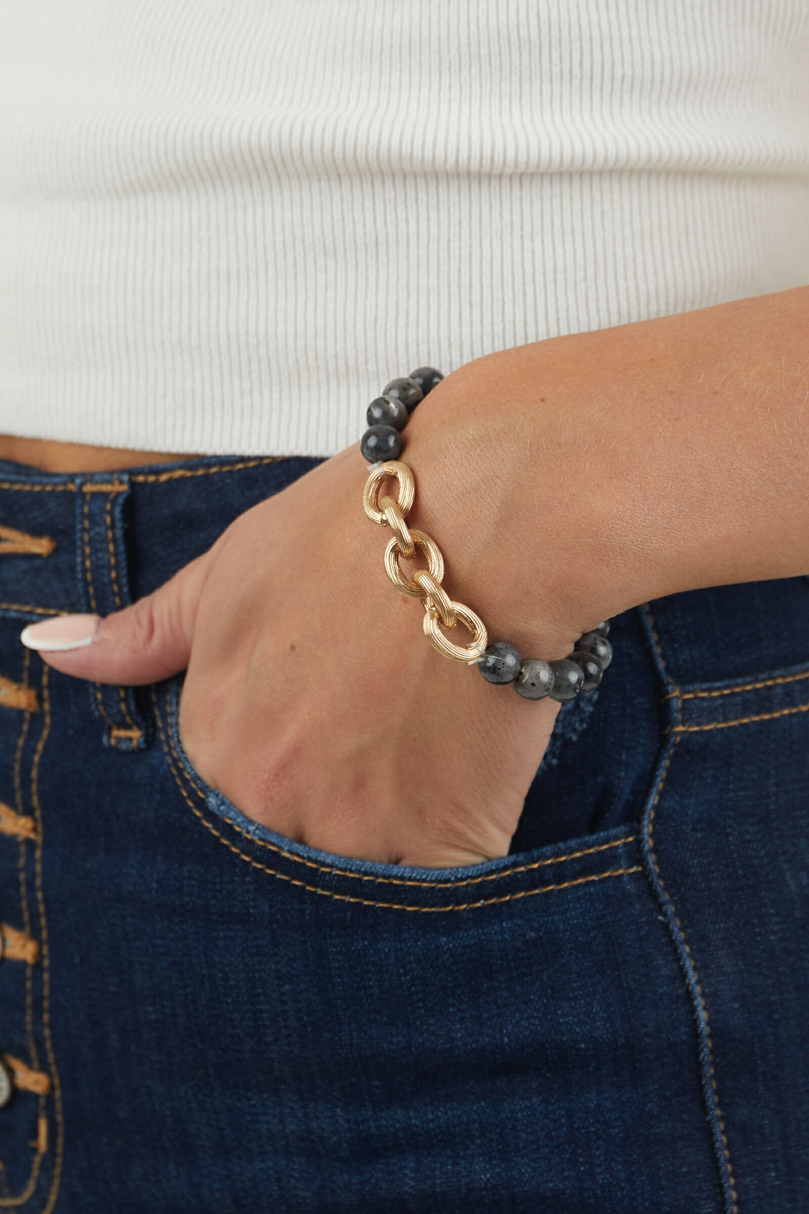 Graphite Marble Bead and Gold Elastic Bracelet
