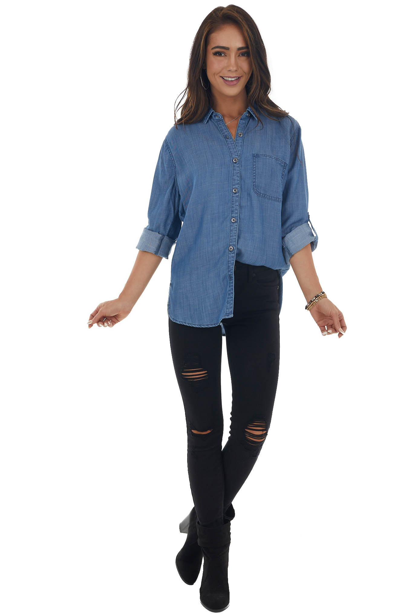 Chambray Button Up Blouse with Long Sleeves