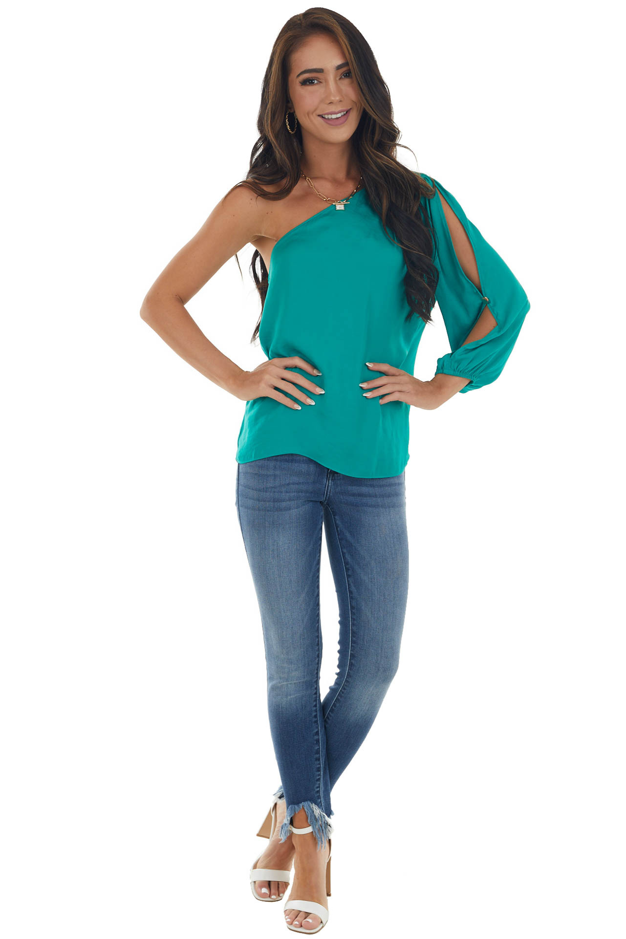 Jade Silky One Shoulder Bubble Sleeve Blouse