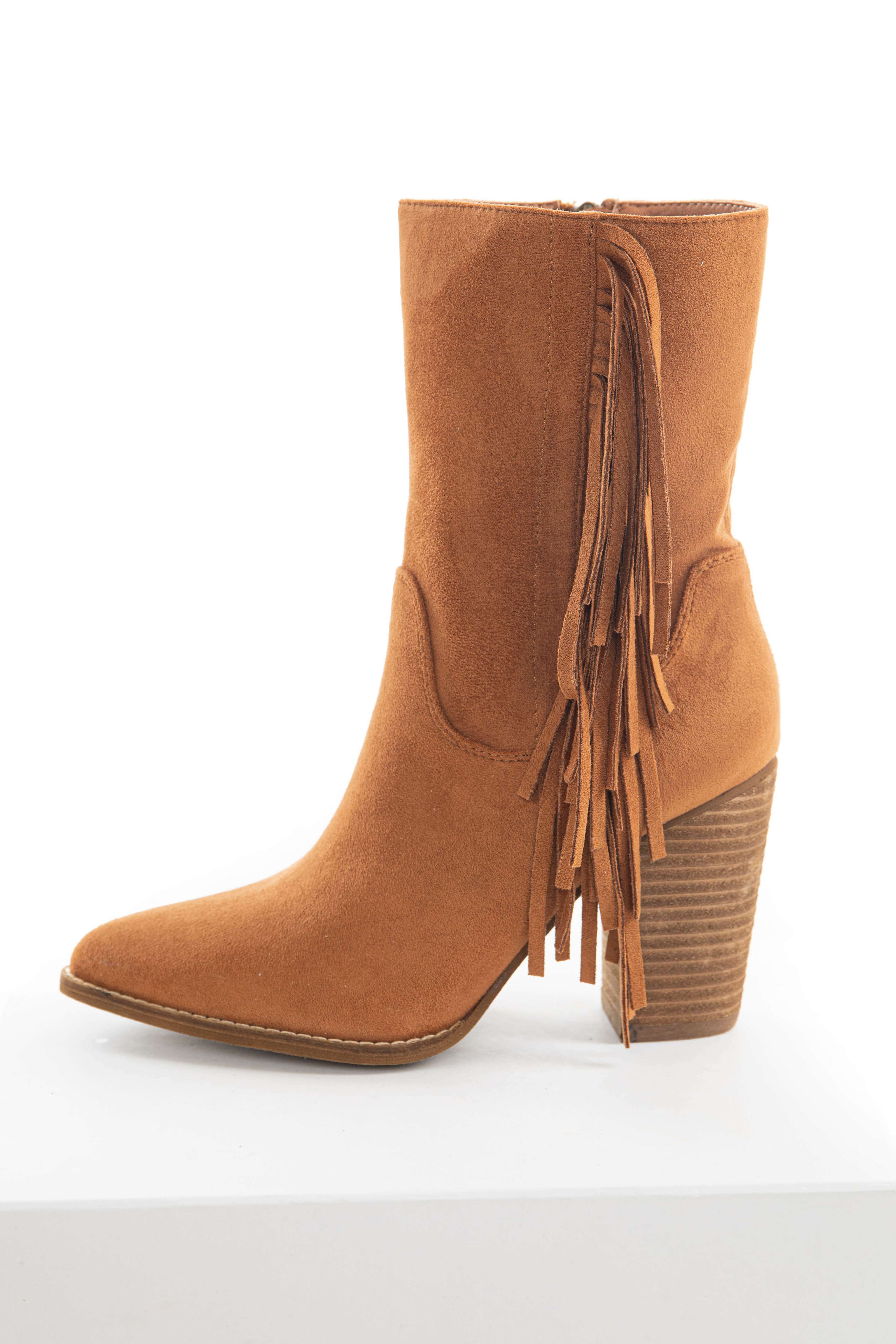Caramel Fringe Pointed Toe Mid Calf Boots