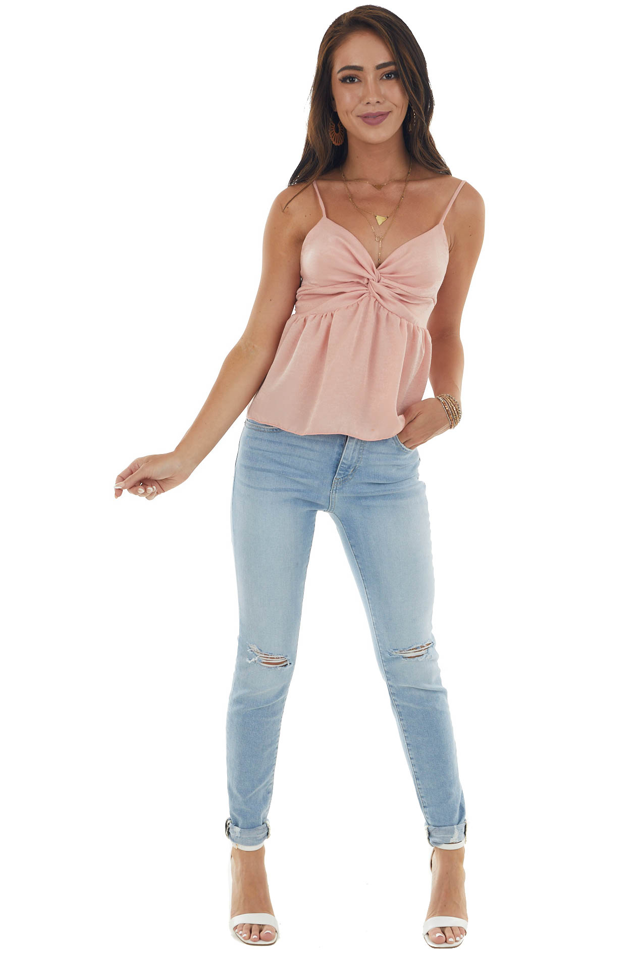Light Coral Woven Tank Top with Twist Detail