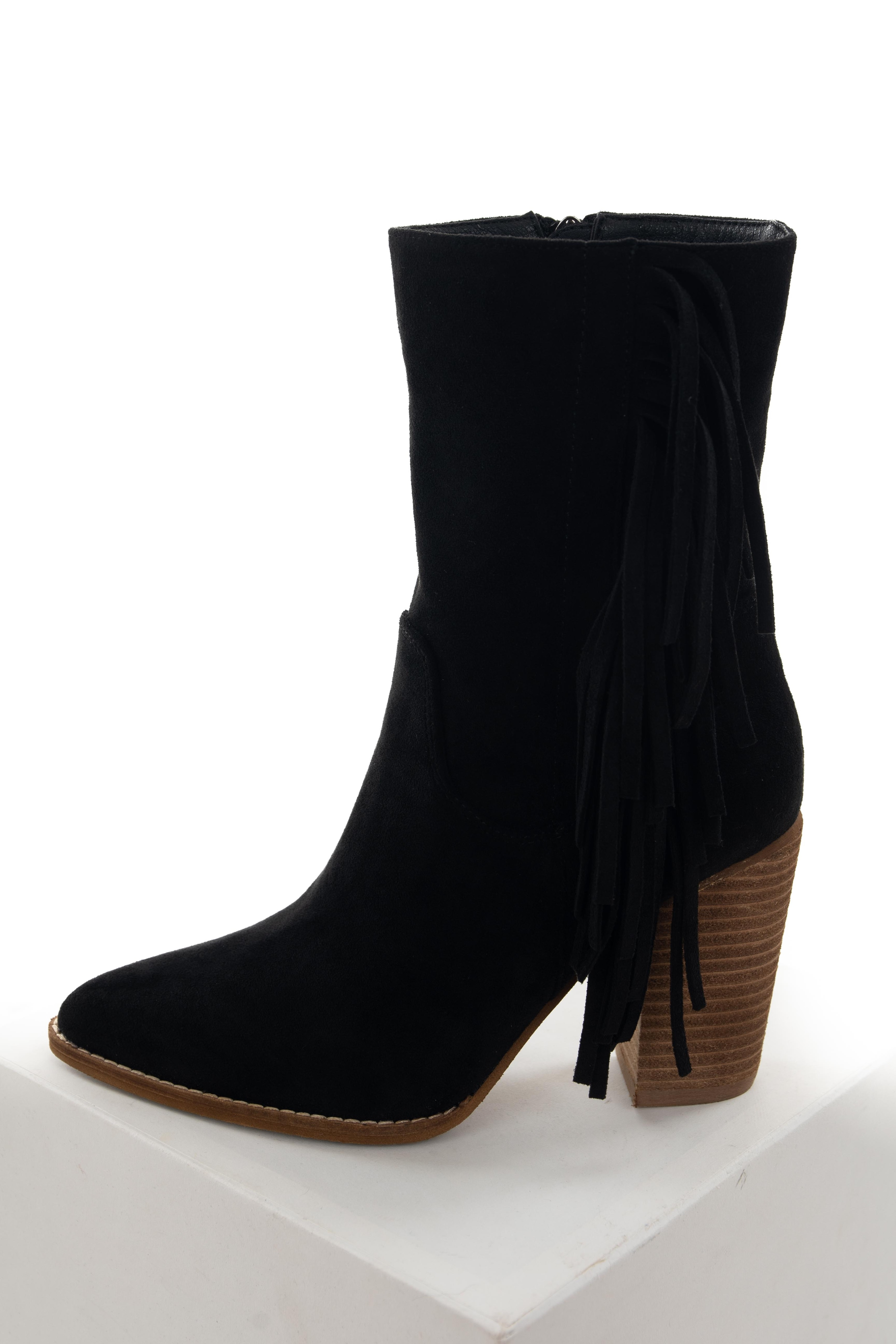 Black Fringe Pointed Toe Mid Calf Boots