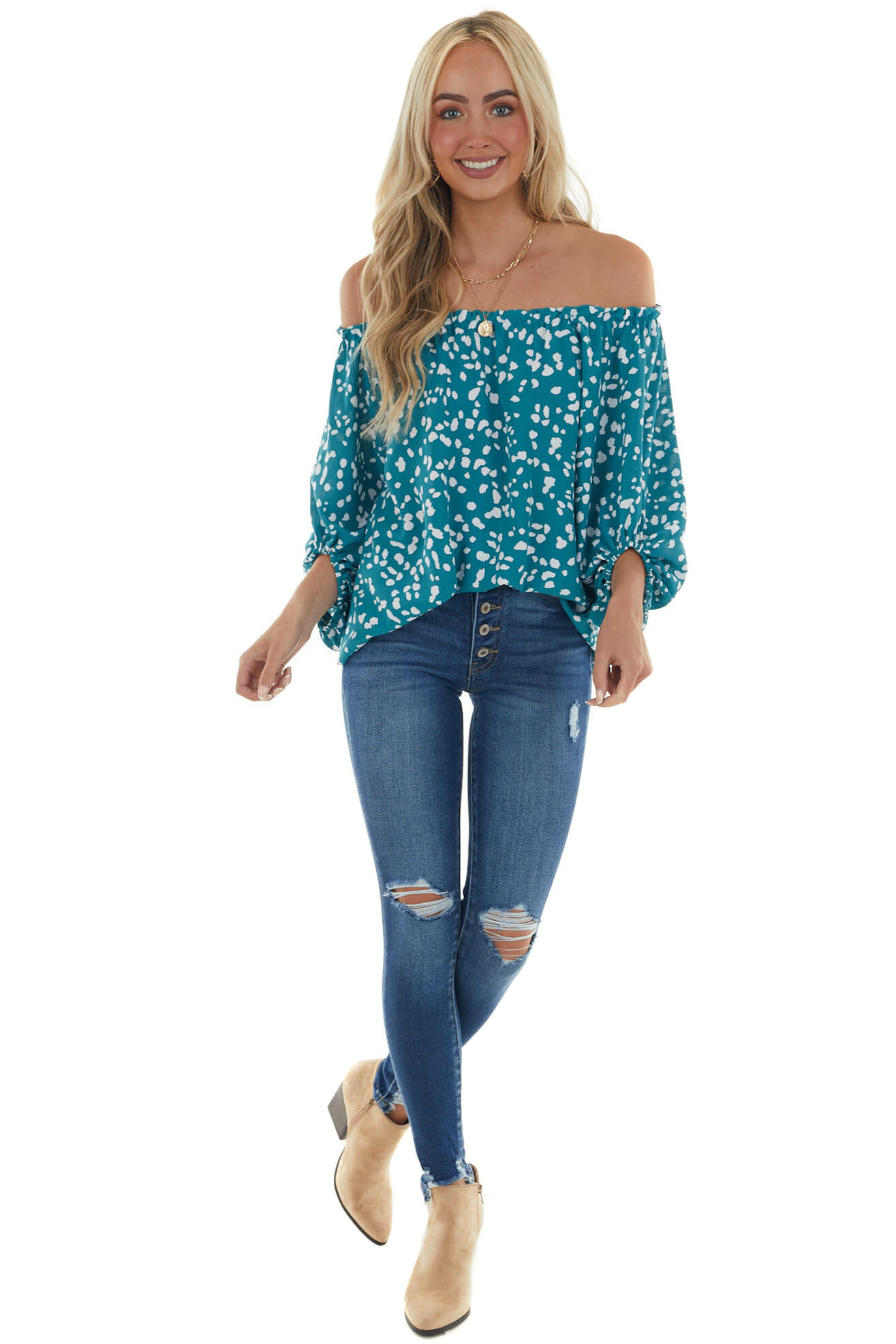 Pine Printed Off the Shoulder Woven Top