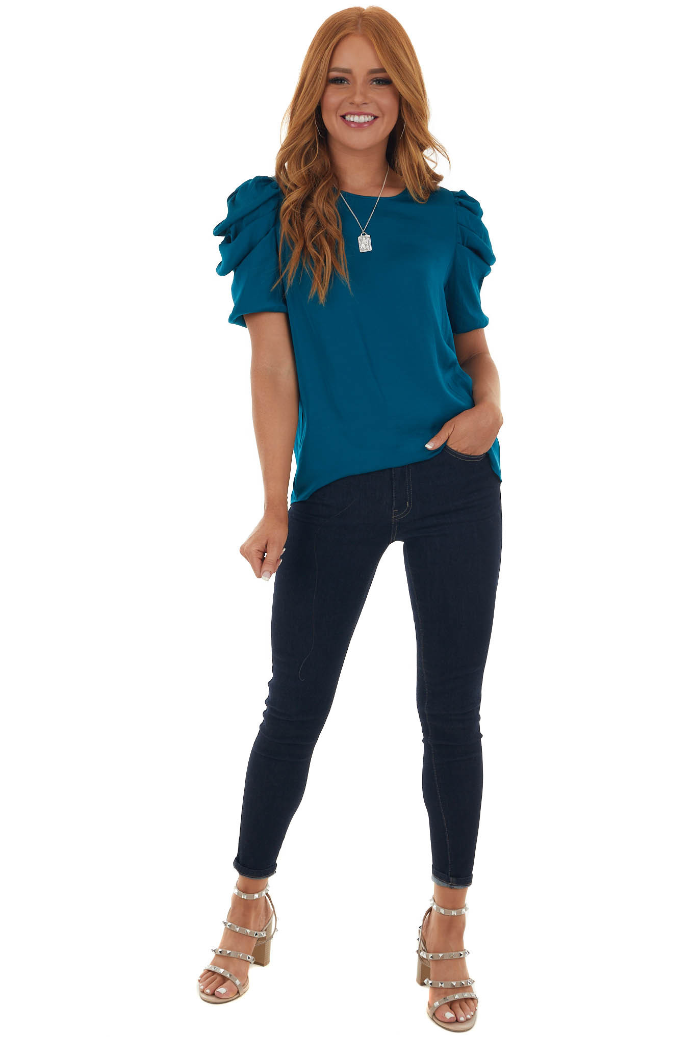 Sea Blue Silky Woven Top with Puffy Pleated Cap Sleeves
