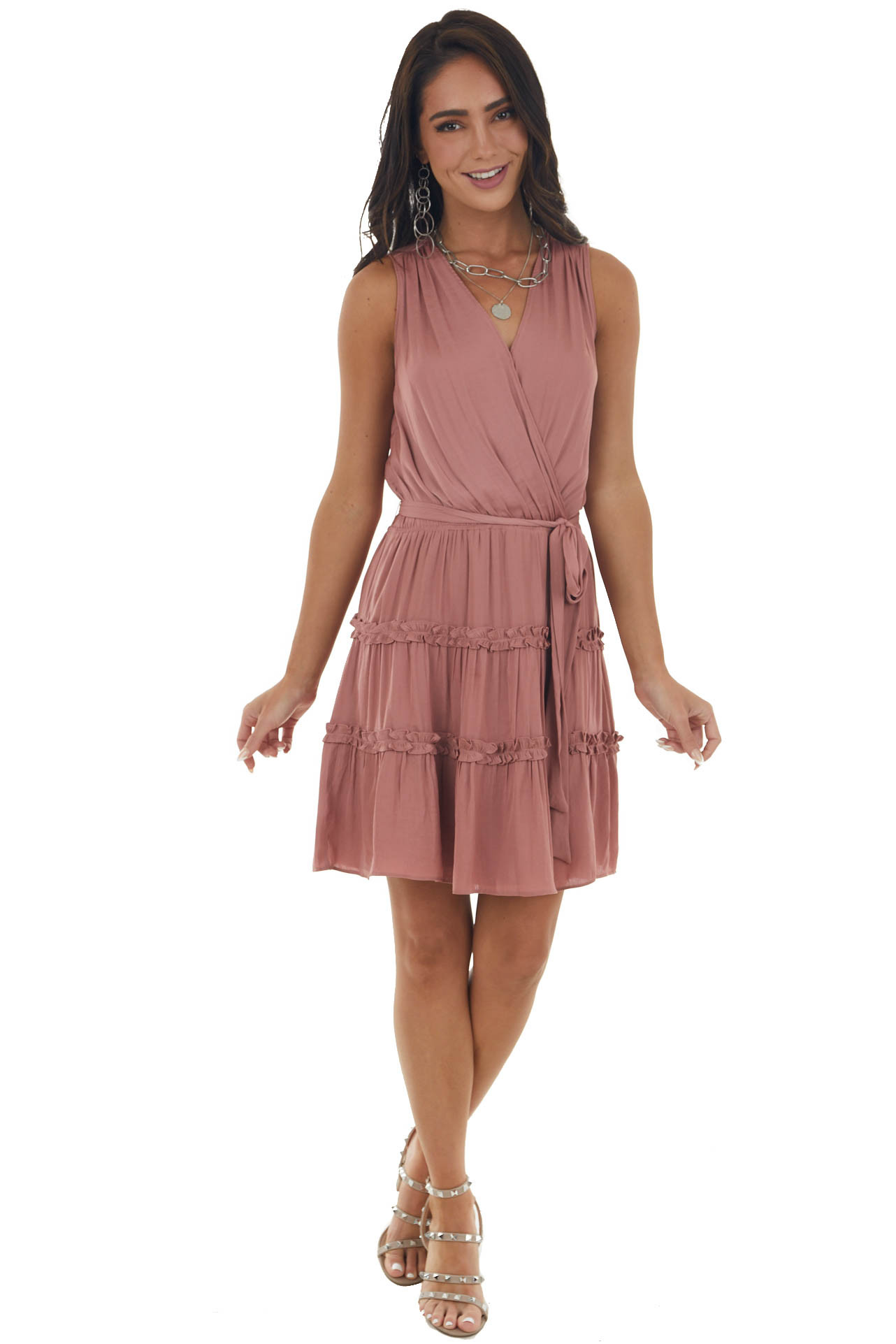 Vintage Rose Surplice Silky Dress with Frills