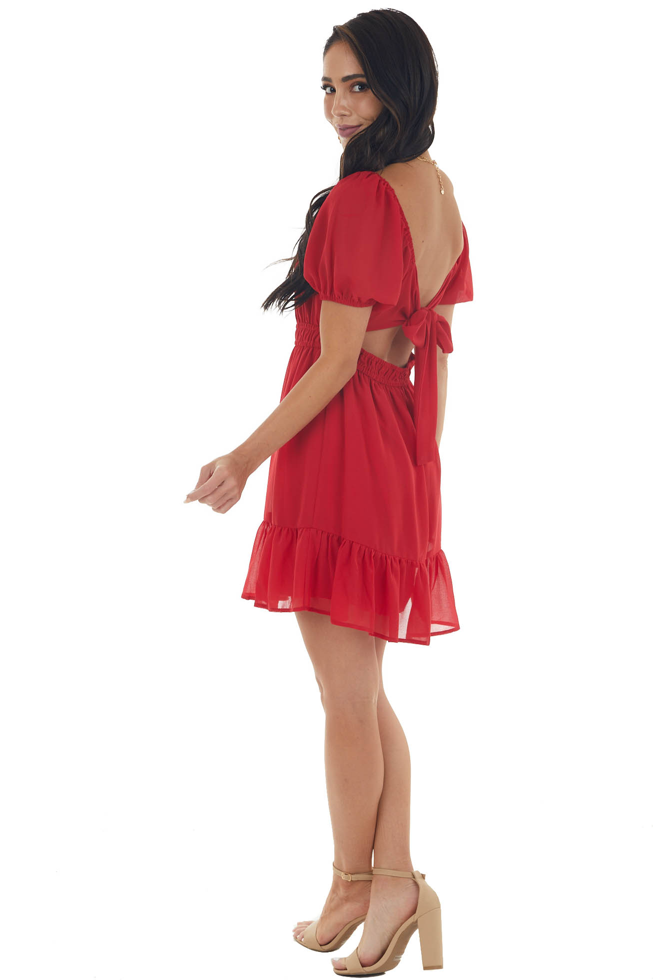 Ruby Red Mini Dress with Back Tie and Cutout