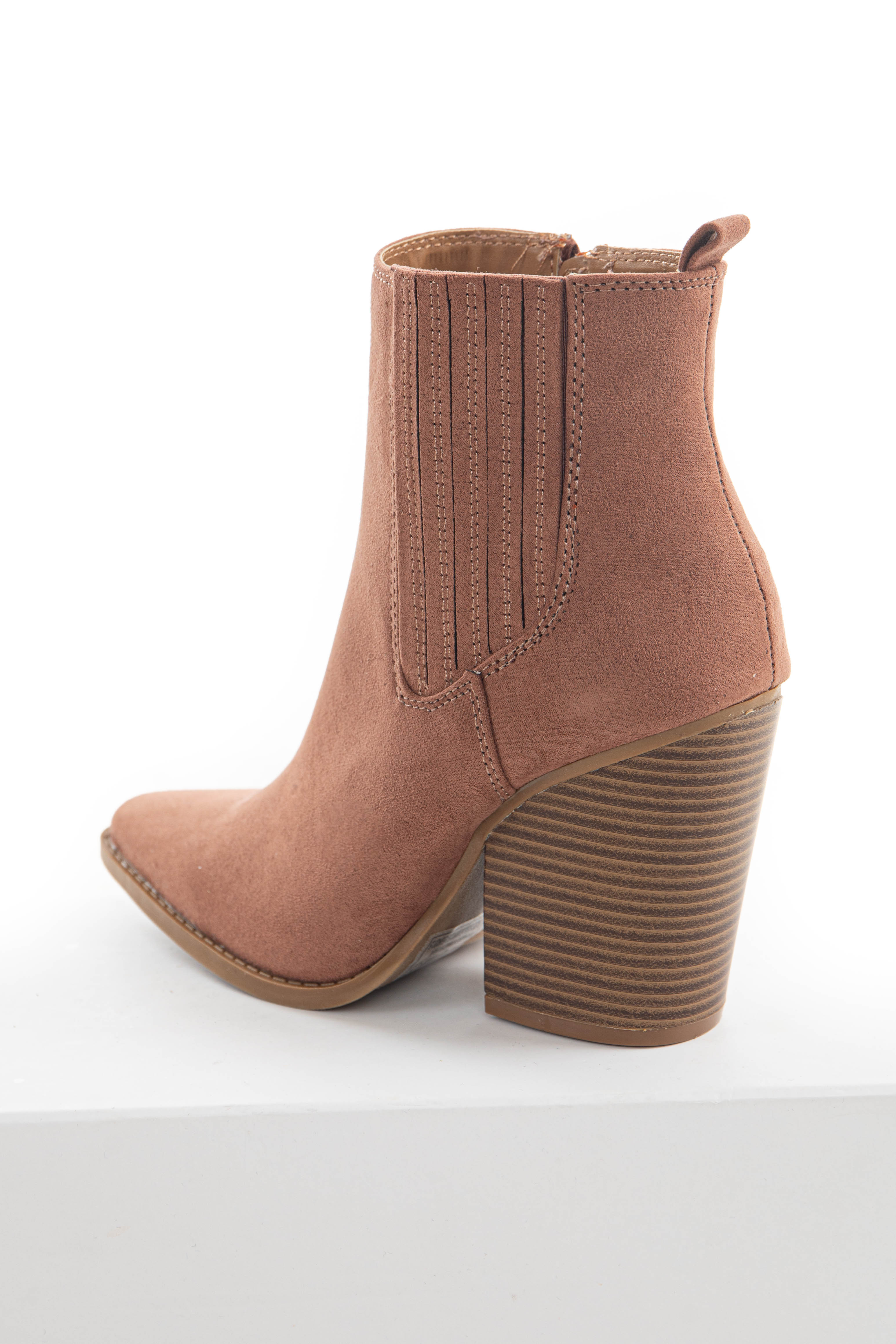 Chestnut Faux Suede Pointed Toe Heeled Booties
