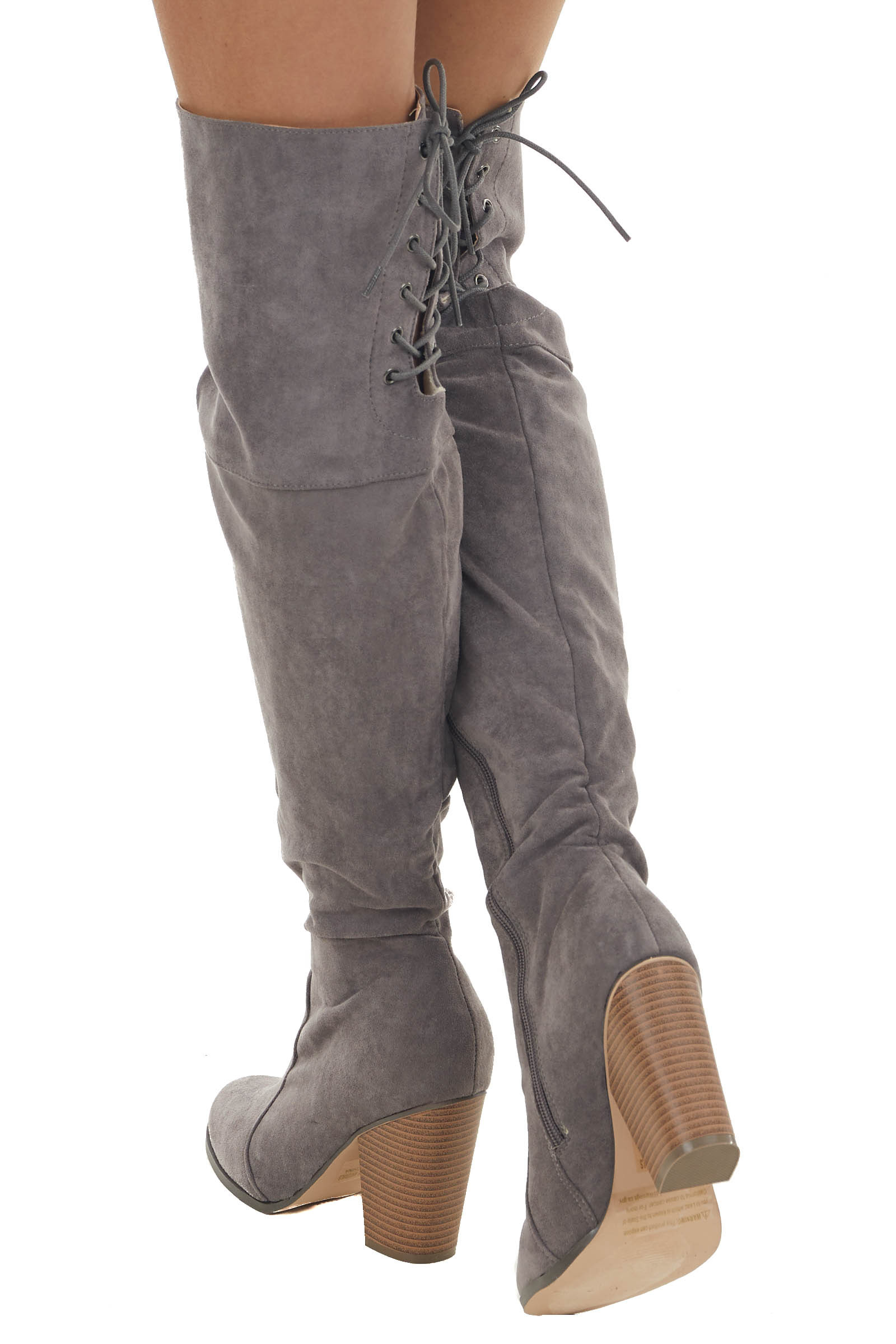 Stone Grey Faux Suede Lace Up Back Tall Boots