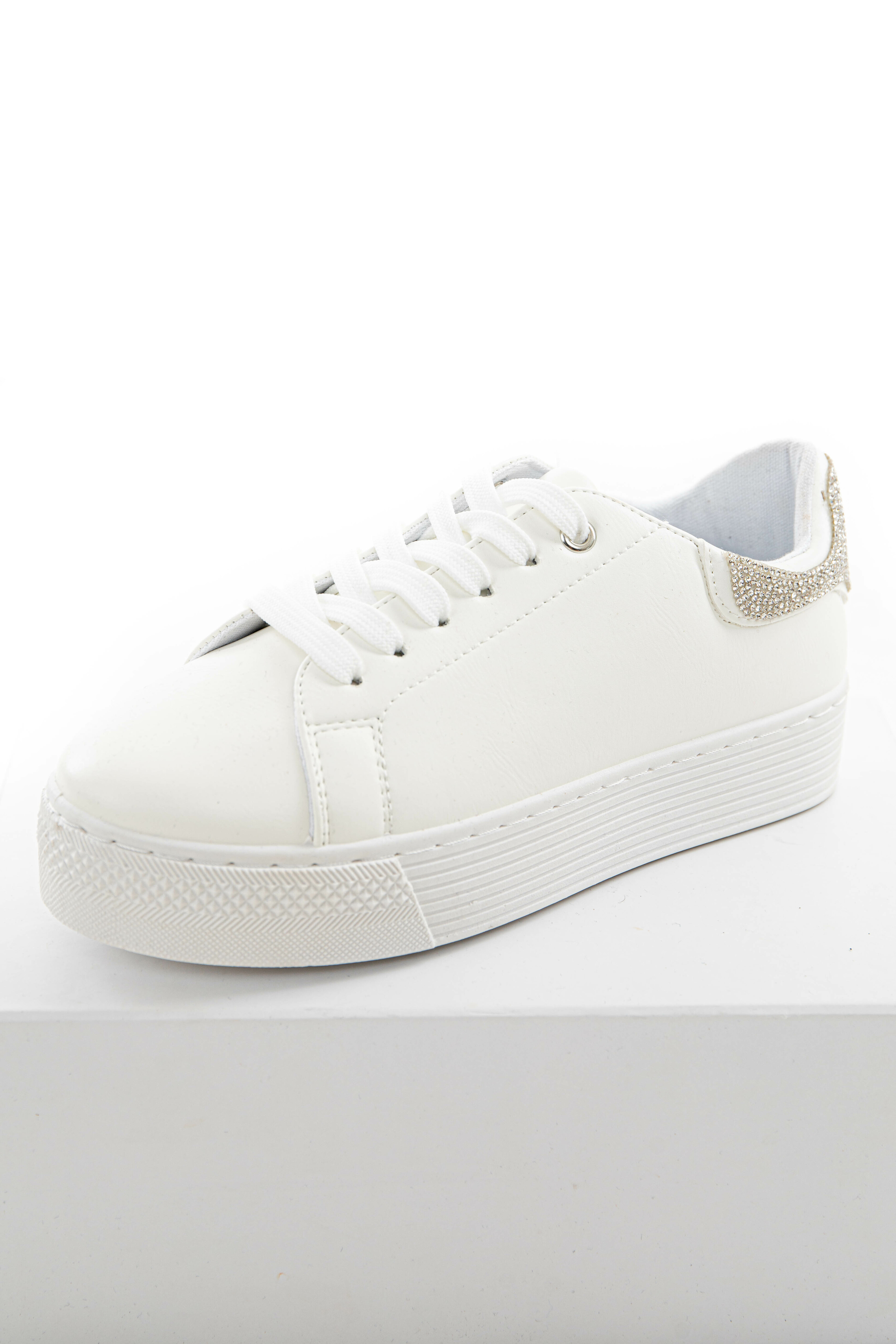 Off White Sneakers with Rhinestone Details