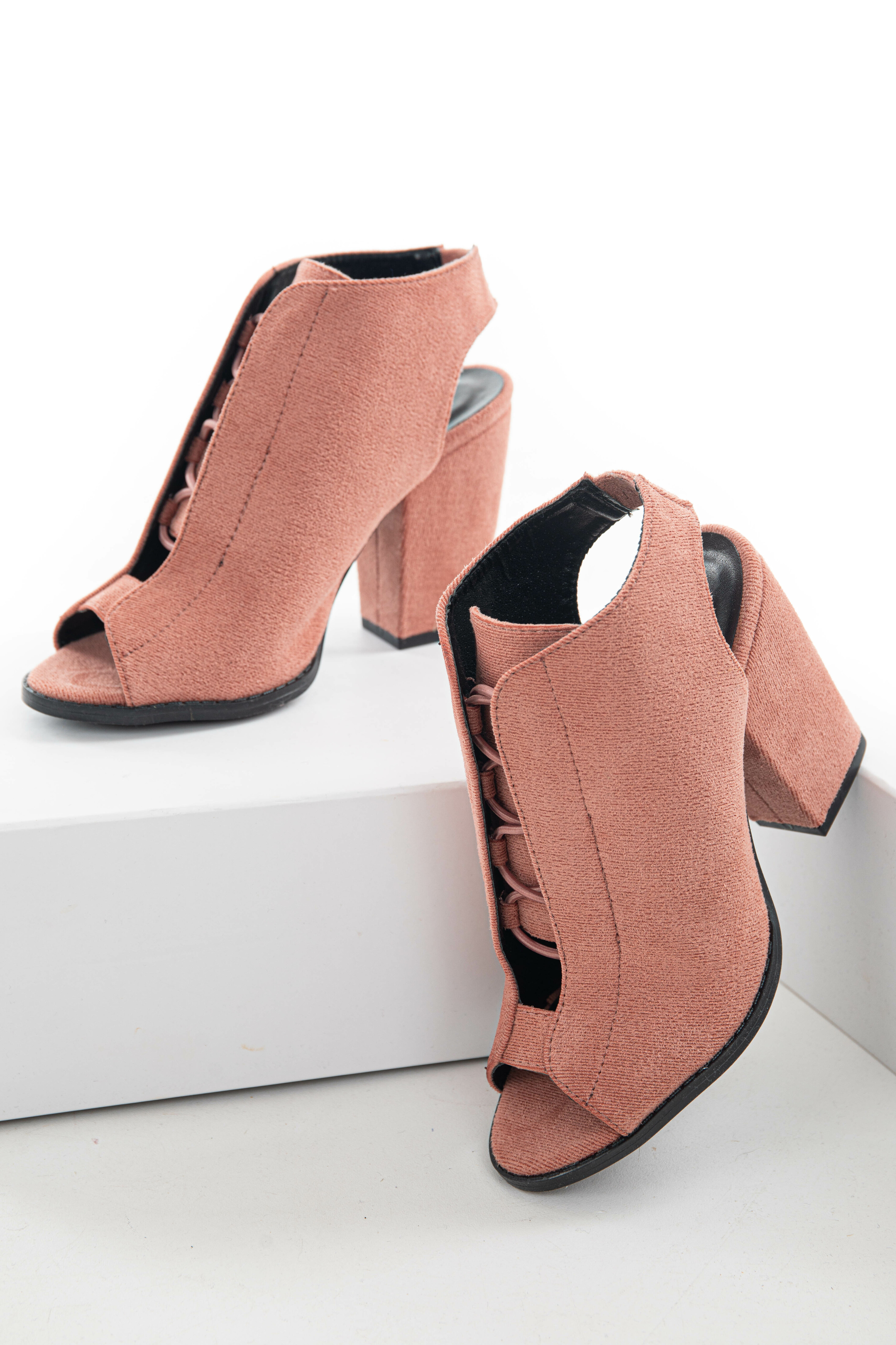 Punch Bungee Laced Peep Toe Sling Back Booties