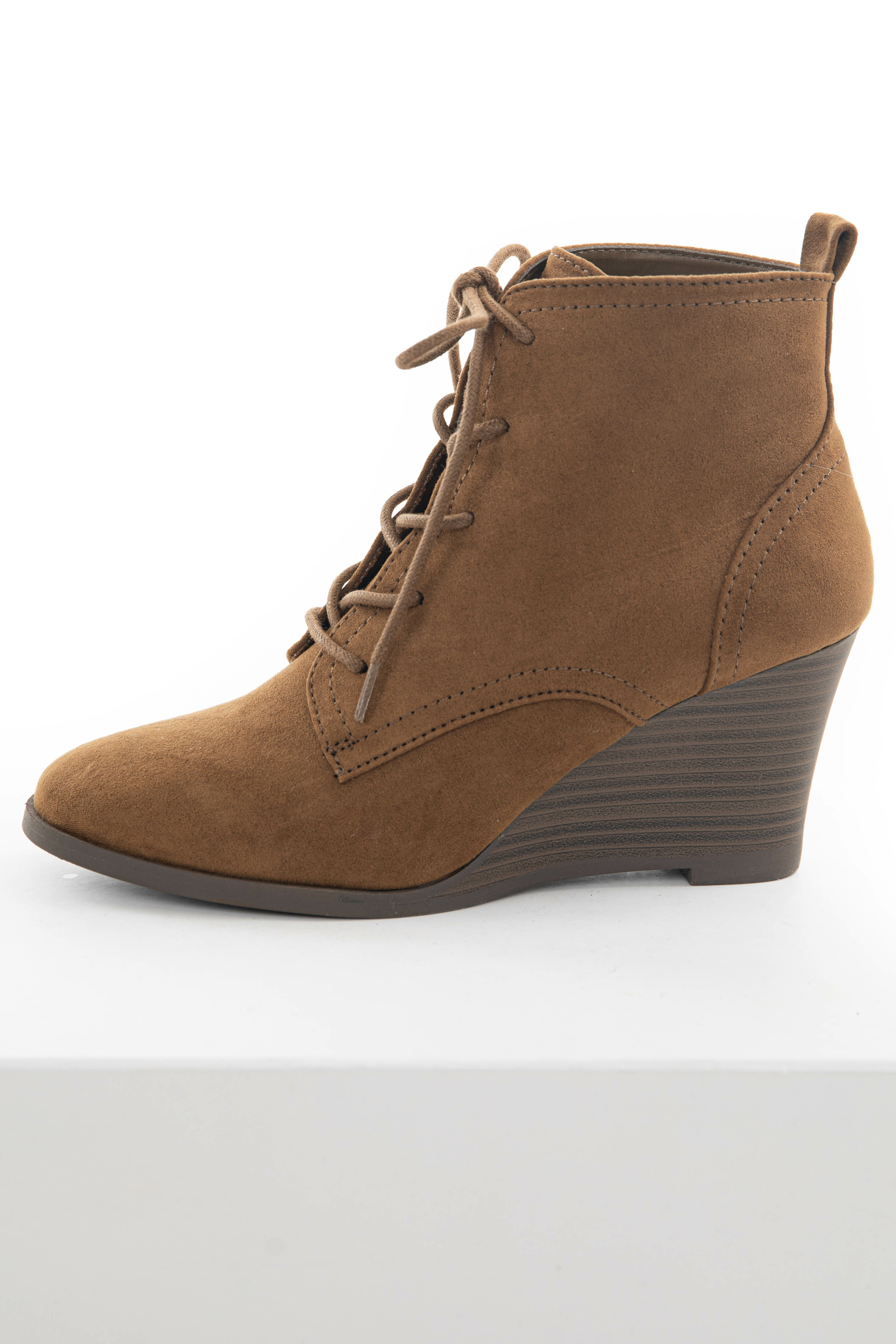 Peanut Suede Pointed Toe Wedge Lace Up Booties