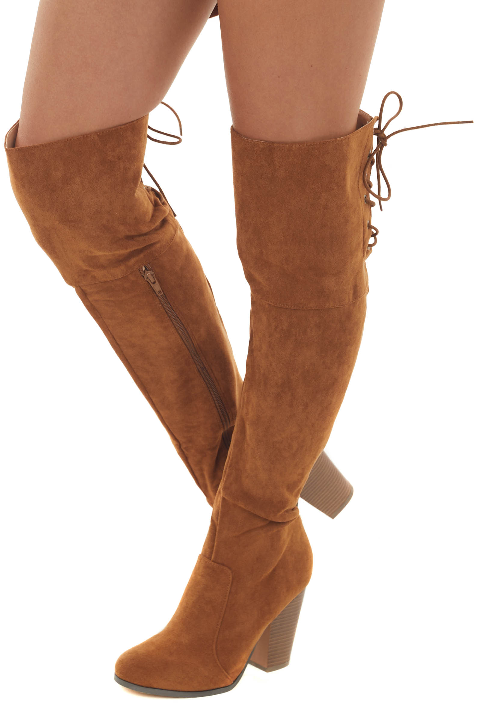 Sepia Faux Suede Lace Up Back Tall Boots