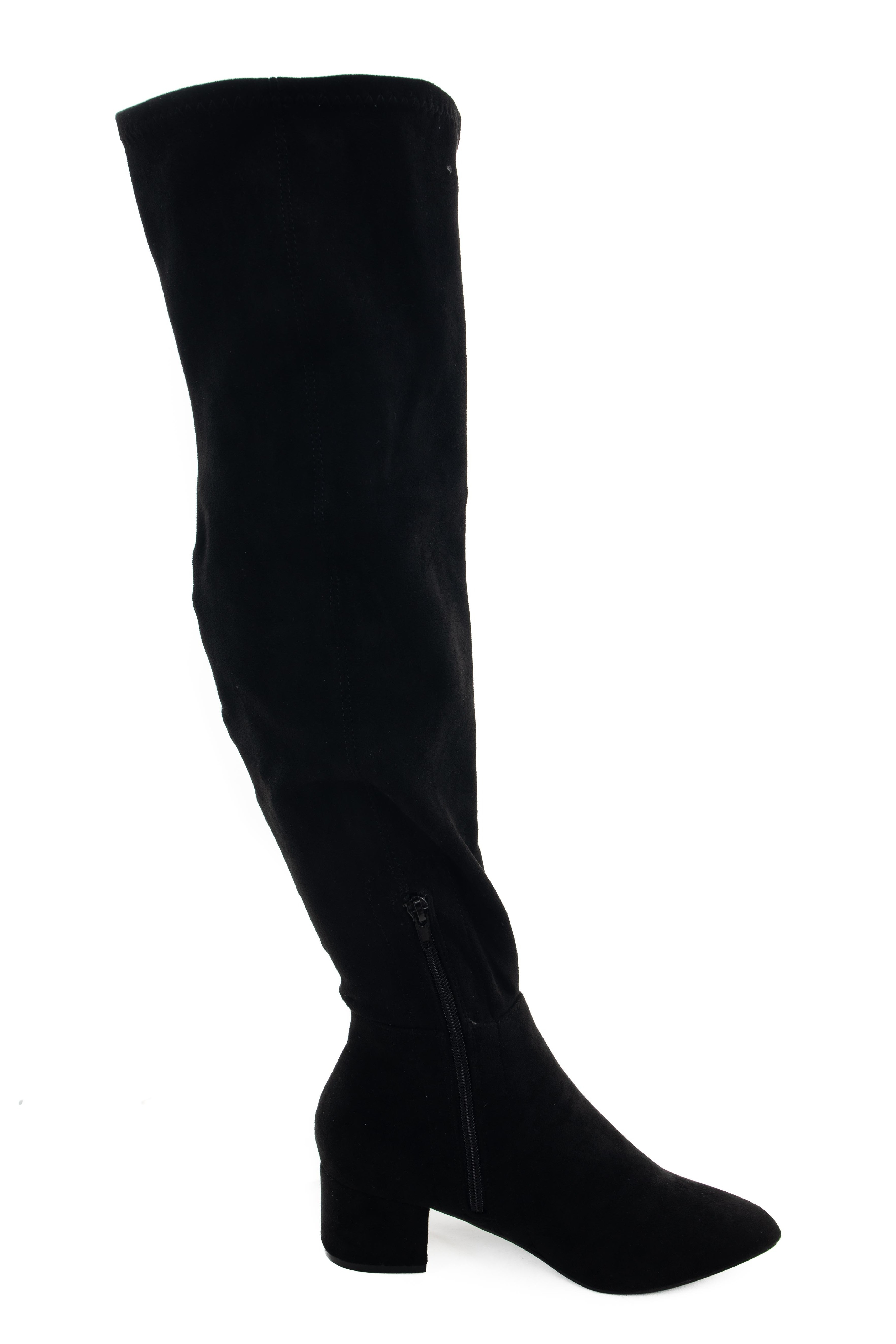 Black Faux Suede Knee High Chunky Heel Boots