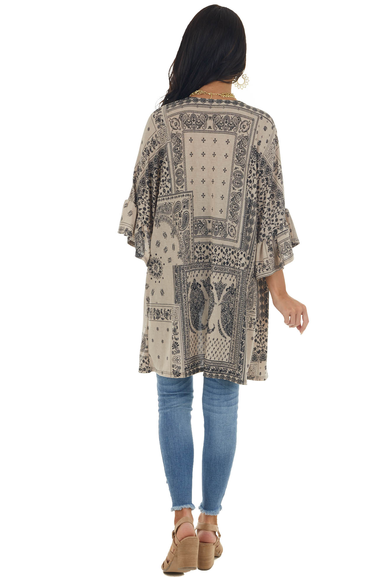 Latte Abstract Print Open Front Knit Cardigan