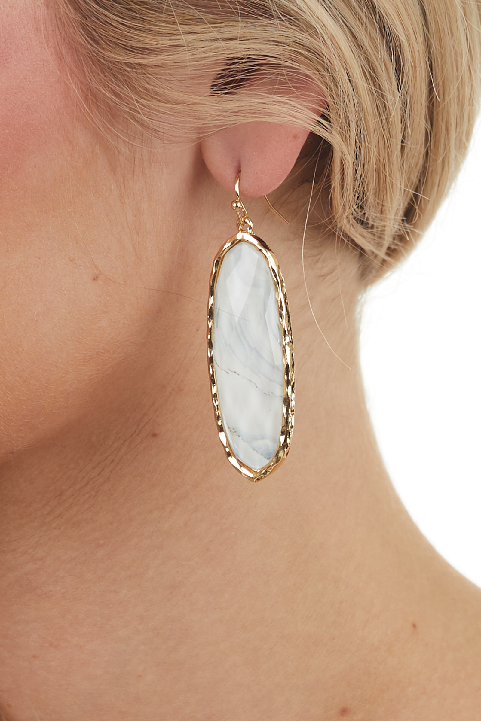 Ivory and Gold Oval Stone Drop Earrings