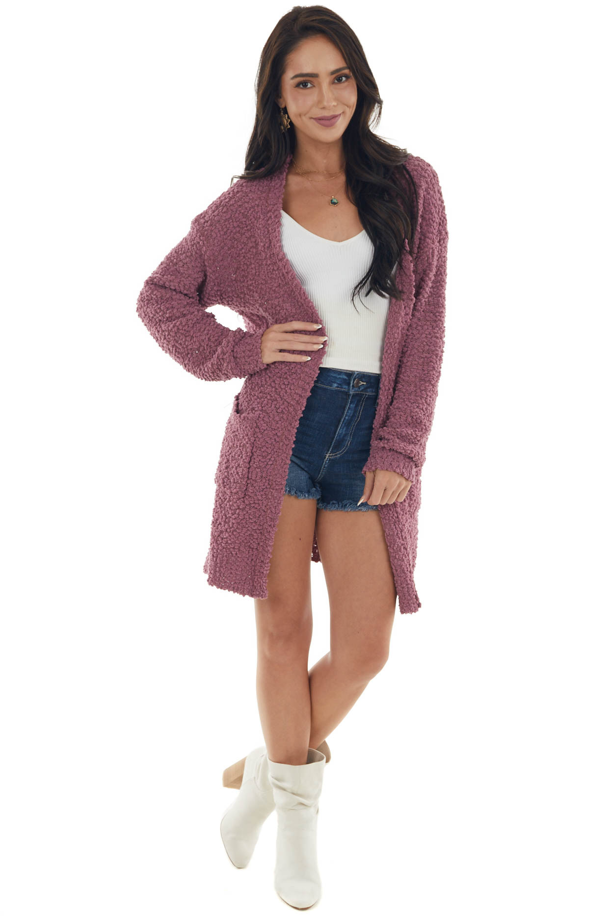 Berry Oversized Soft Cardigan with Pockets