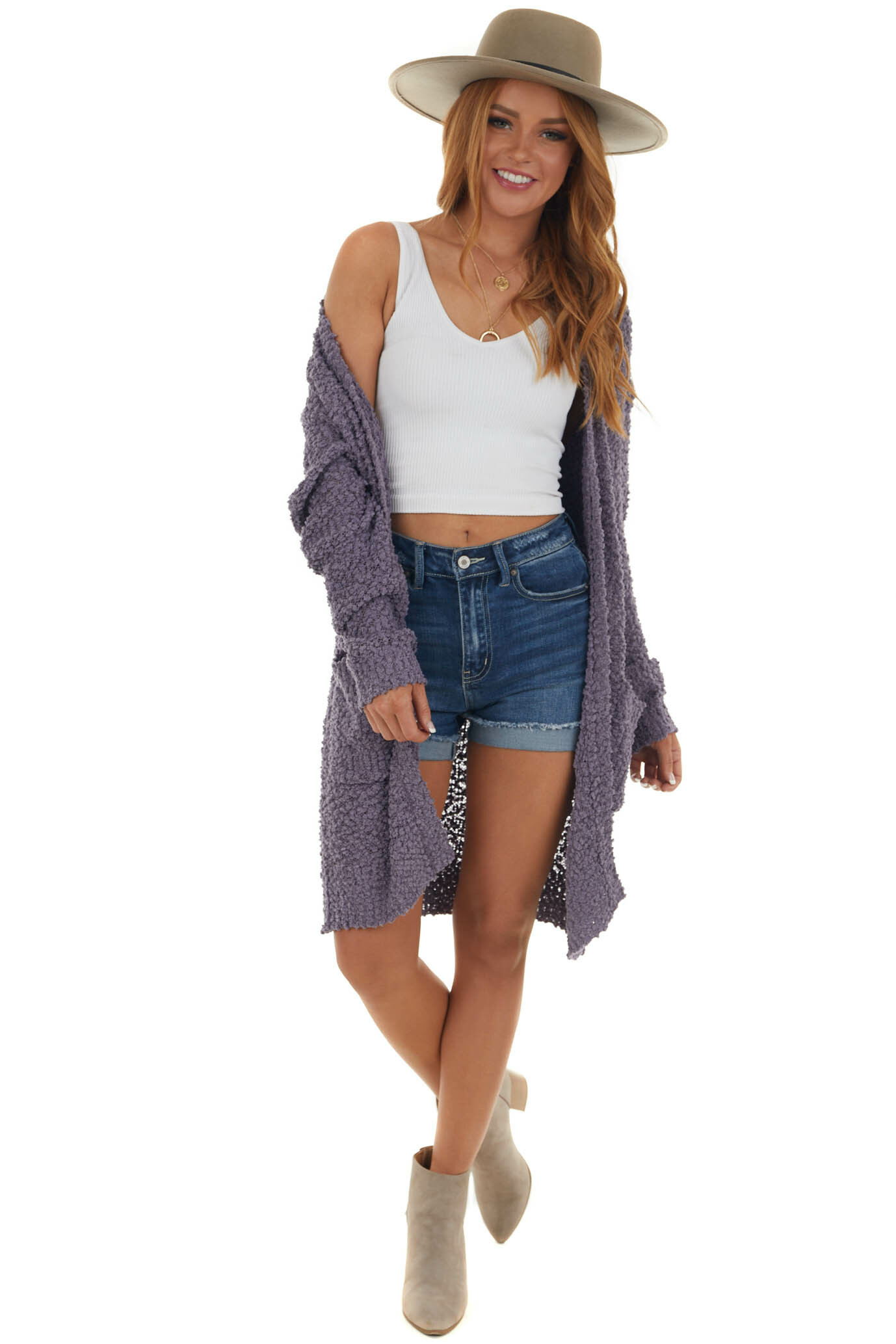 Lavender Oversized Soft Cardigan with Pockets