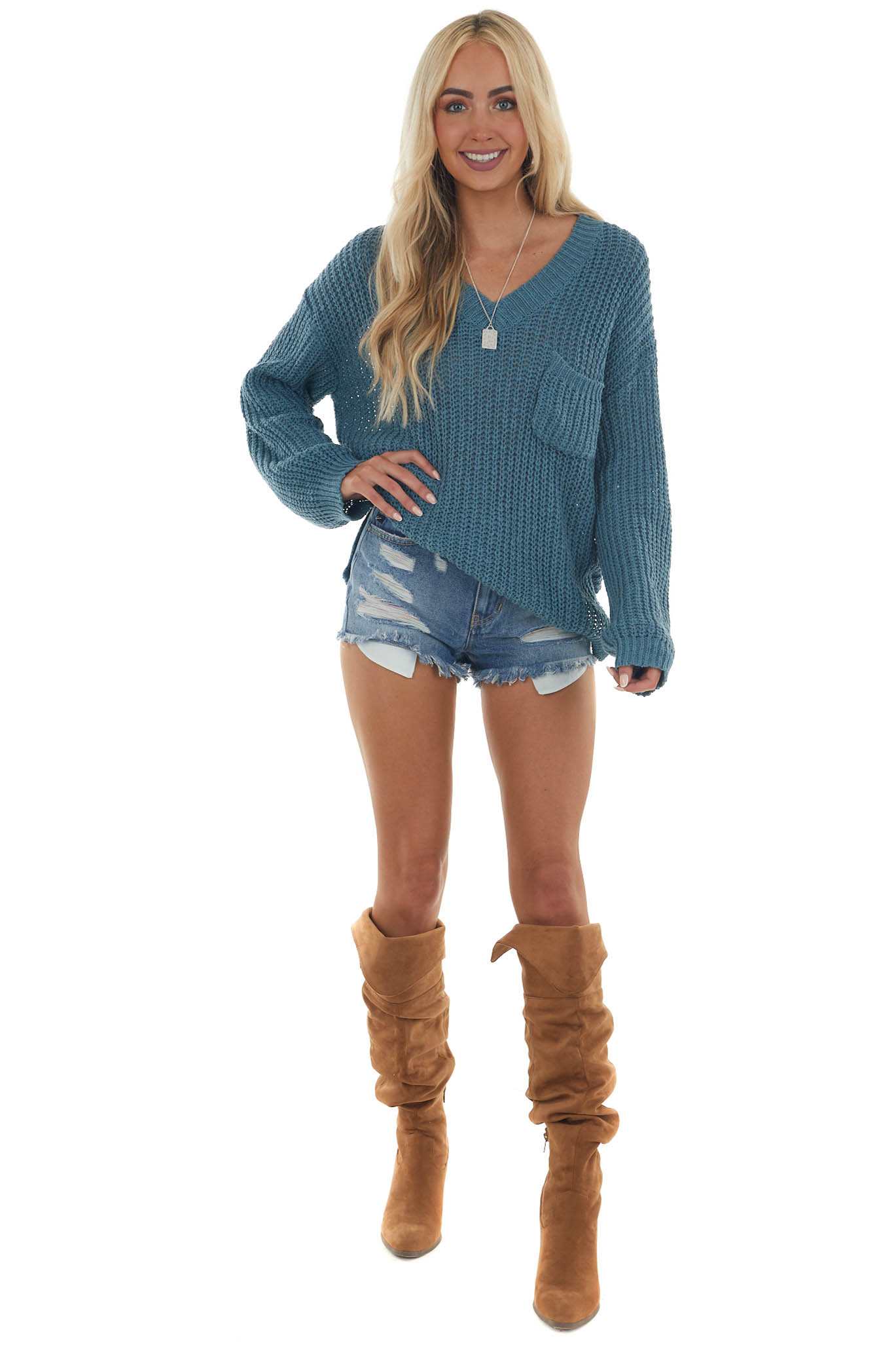 Sea Blue V Neck Thick Knit Pullover Sweater